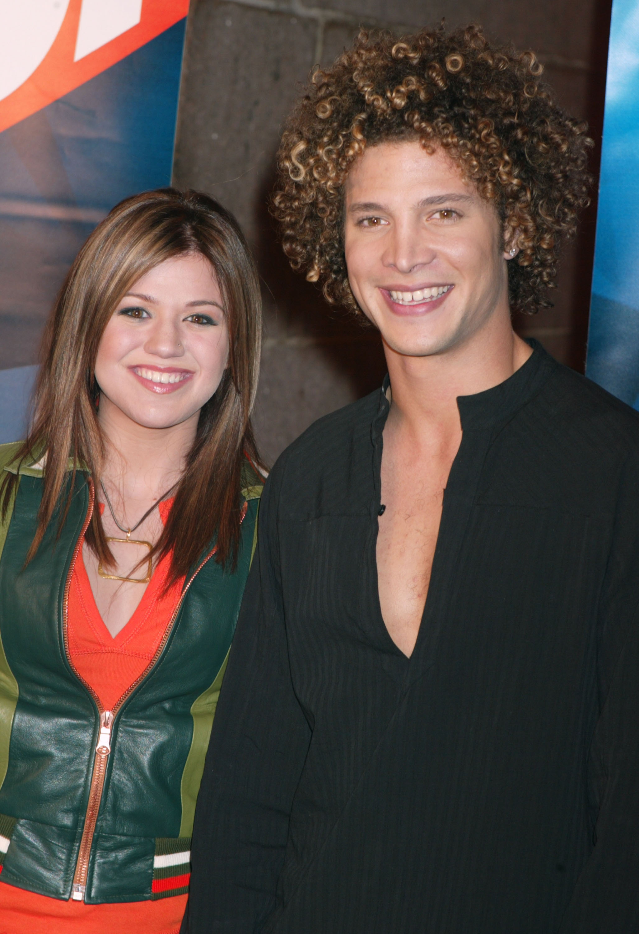 Kelly Clarkson and Justin Guarini during FOX TV Network 2003 2004 UpFront Party - Arrivals at Ciprianis at Grand Central Station in New York.