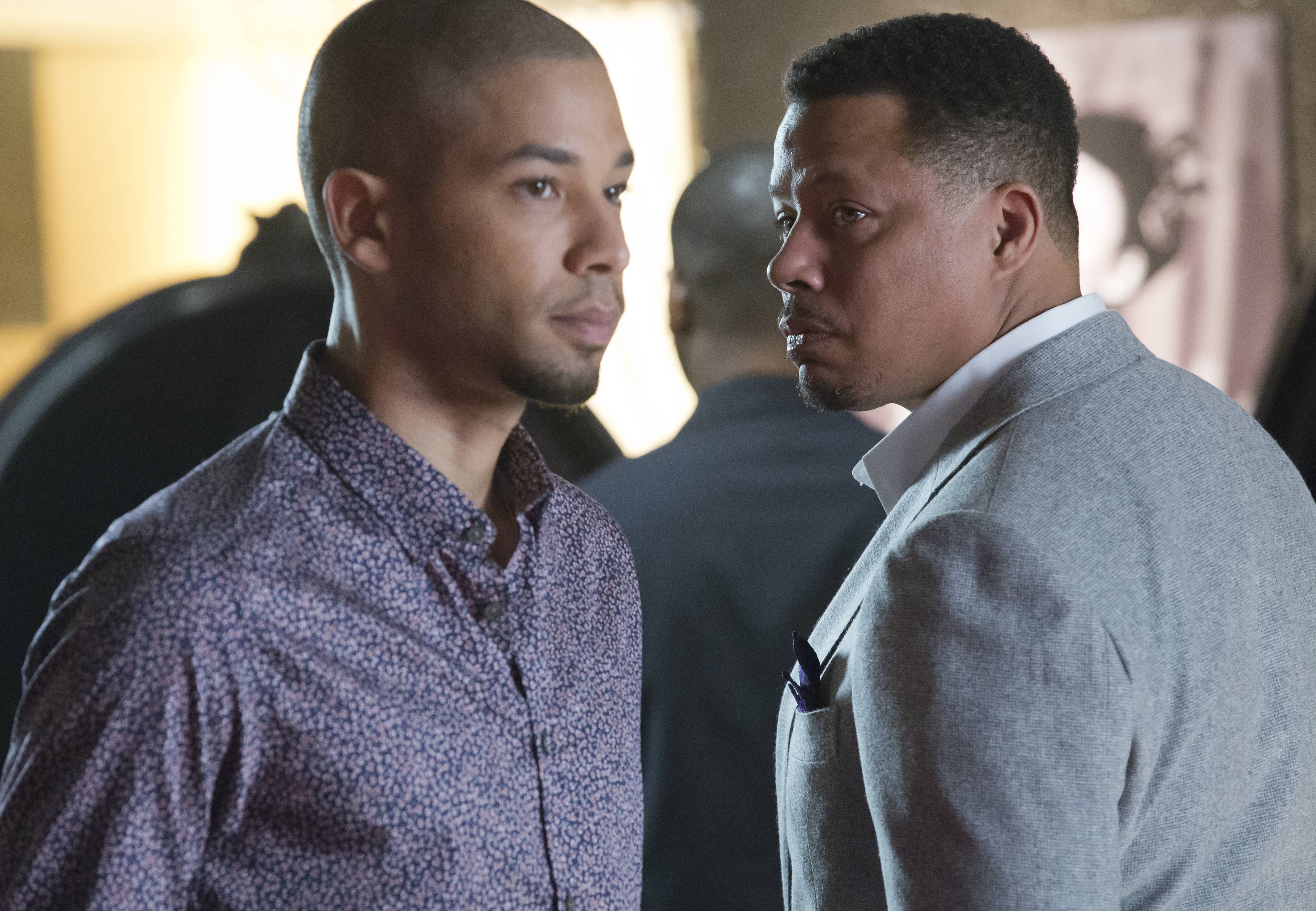 "EMPIRE: Lucious (Terrence Howard, R) and Jamal (Jussie Smollett, L) form a music-centered relationship in the special two-hour ""Die But Once/Who I Am"" Season Finale episode of Empire"