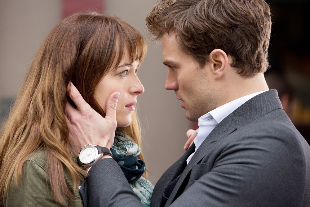Dakota Johnson, left, and Jamie Dornan in Fifty Shades of Grey