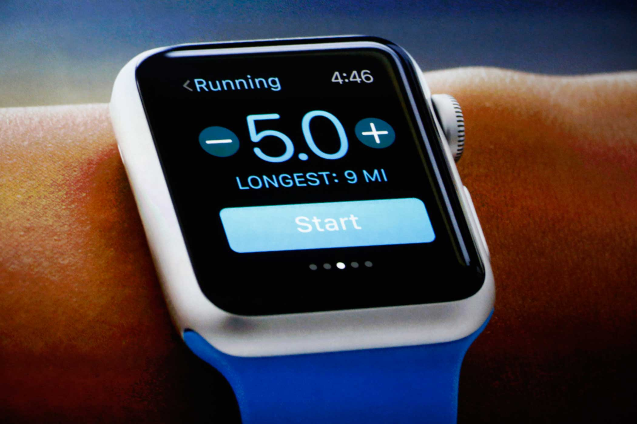 Apple's fitness app, one of the device's main selling points, tracks runs, walks and bike rides.