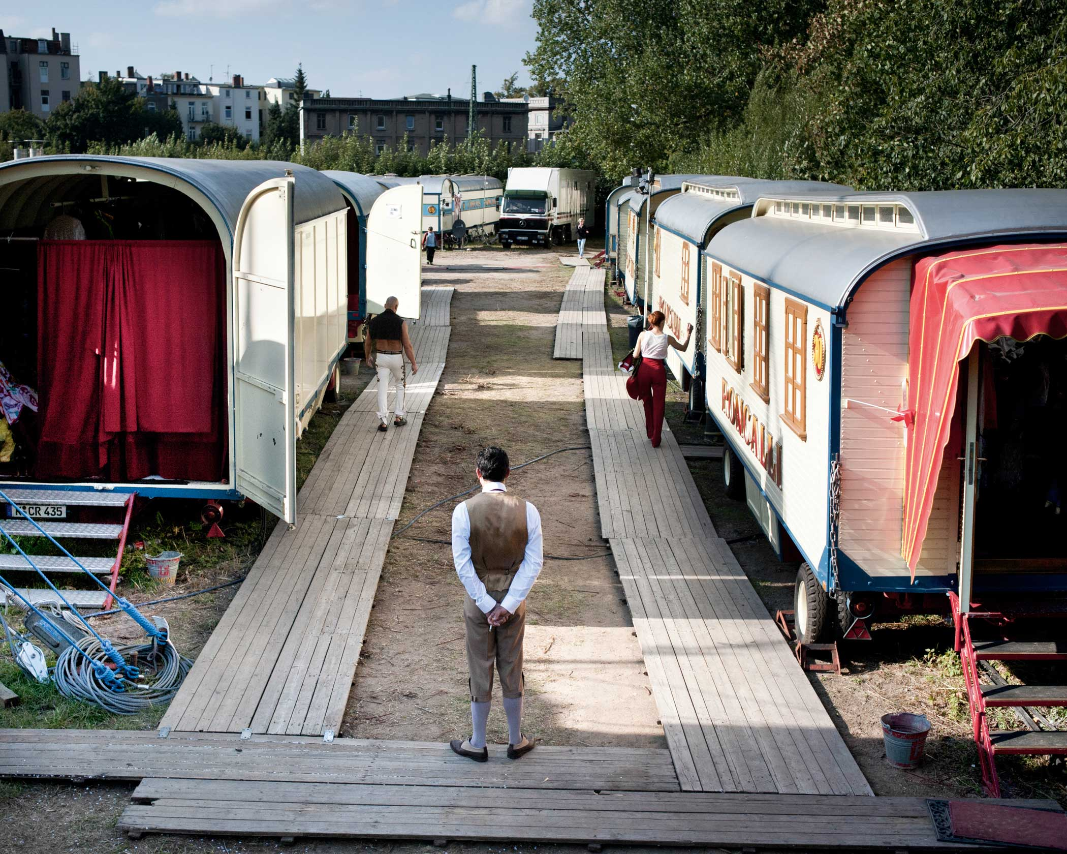 Circus Roncalli                               A row of performers' caravans.