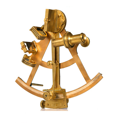 An antique brass sextant
