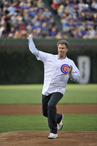Will Ferrell throws out a ceremonial first pitch before the game between the Miami Marlins and the Chicago Cubs in Chicago on July 18, 2012.