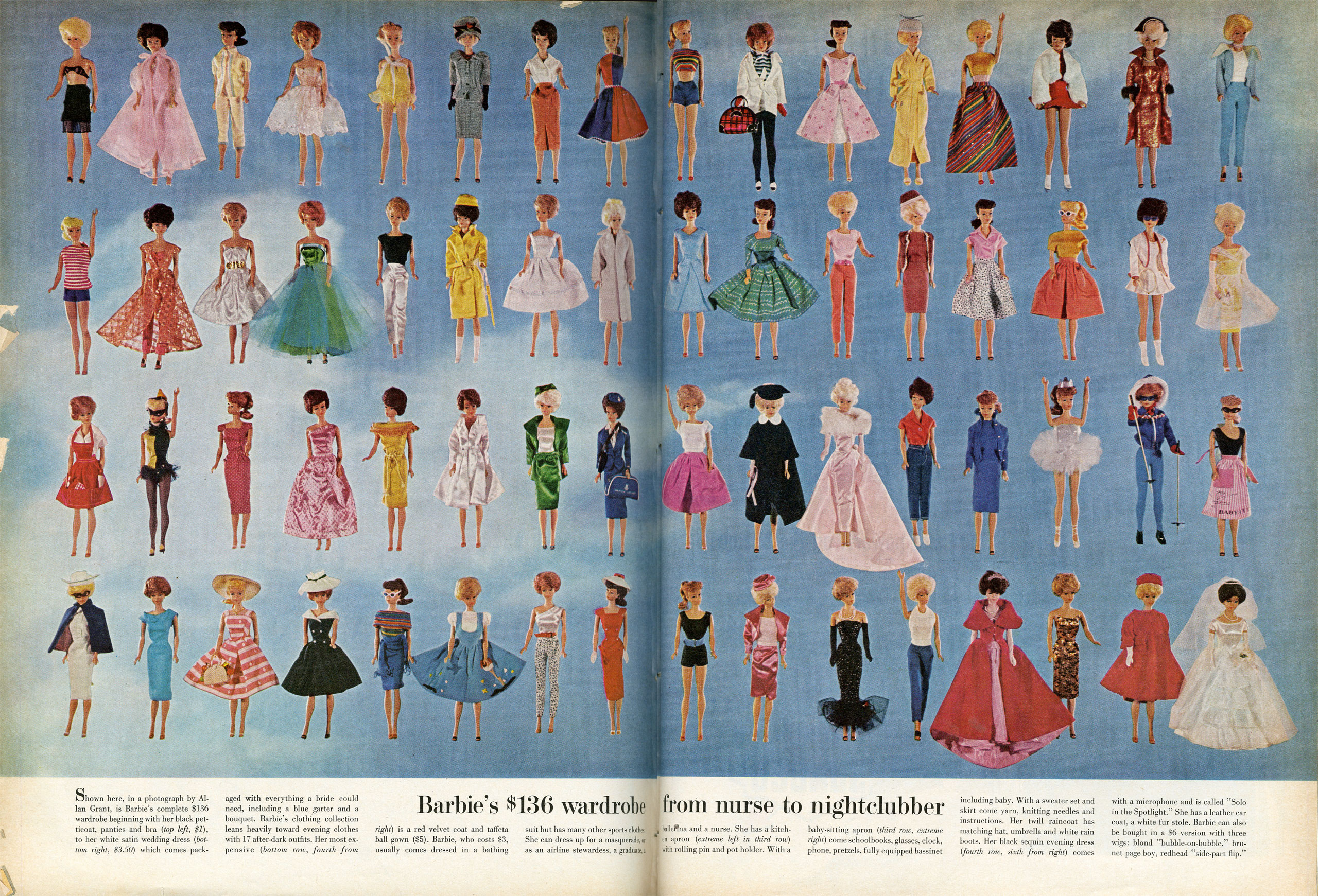 Caption from LIFE. Barbie's $136 wardrobe from nurse to nightclubber.