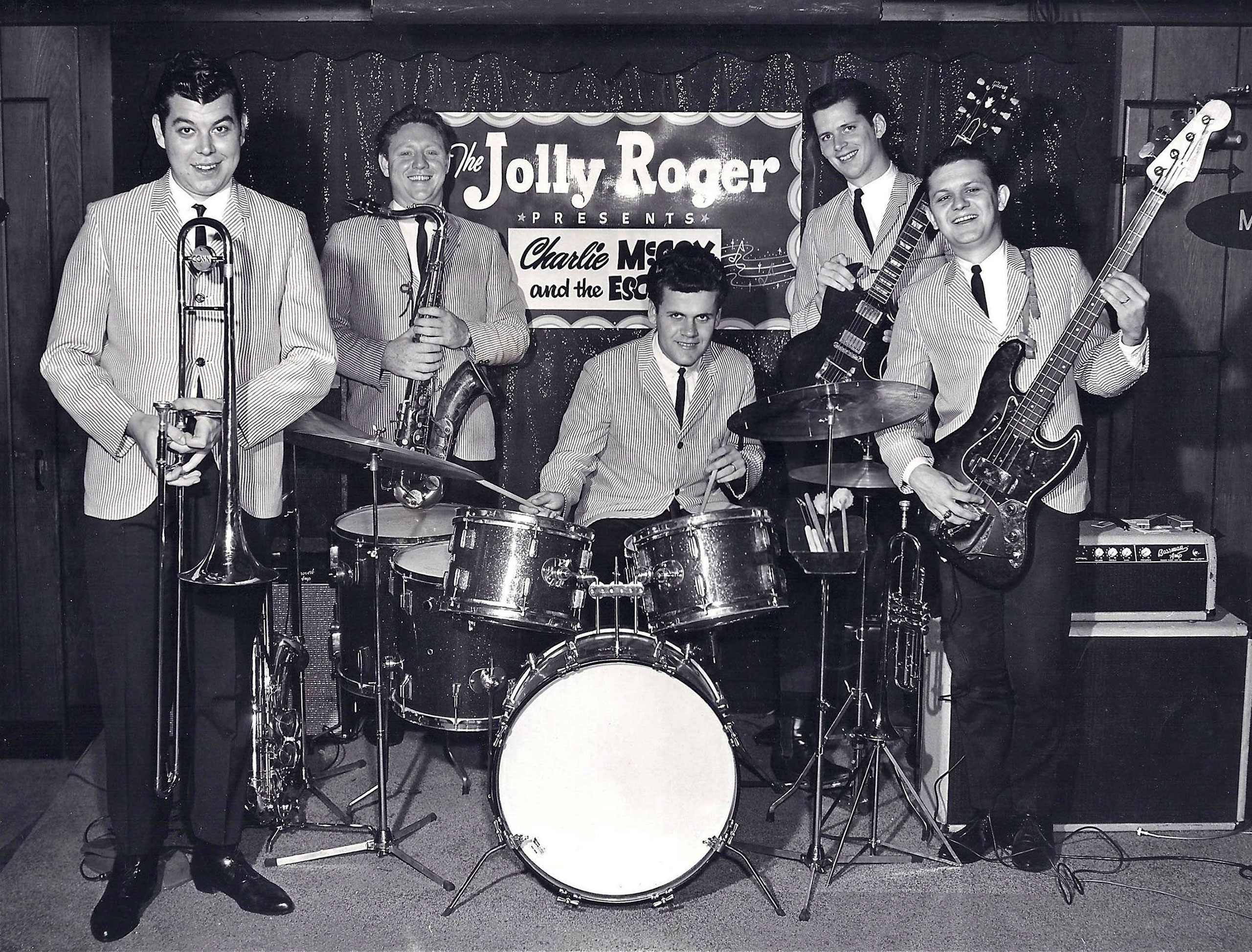 Charlie McCoy and the Escorts perform at the Jolly Roger in Printers Alley, circa 1965. Pictured are (l-r): Wayne Butler, Jerry Tuttle, Kenny Buttrey, Mac Gayden, and Charlie McCoy.