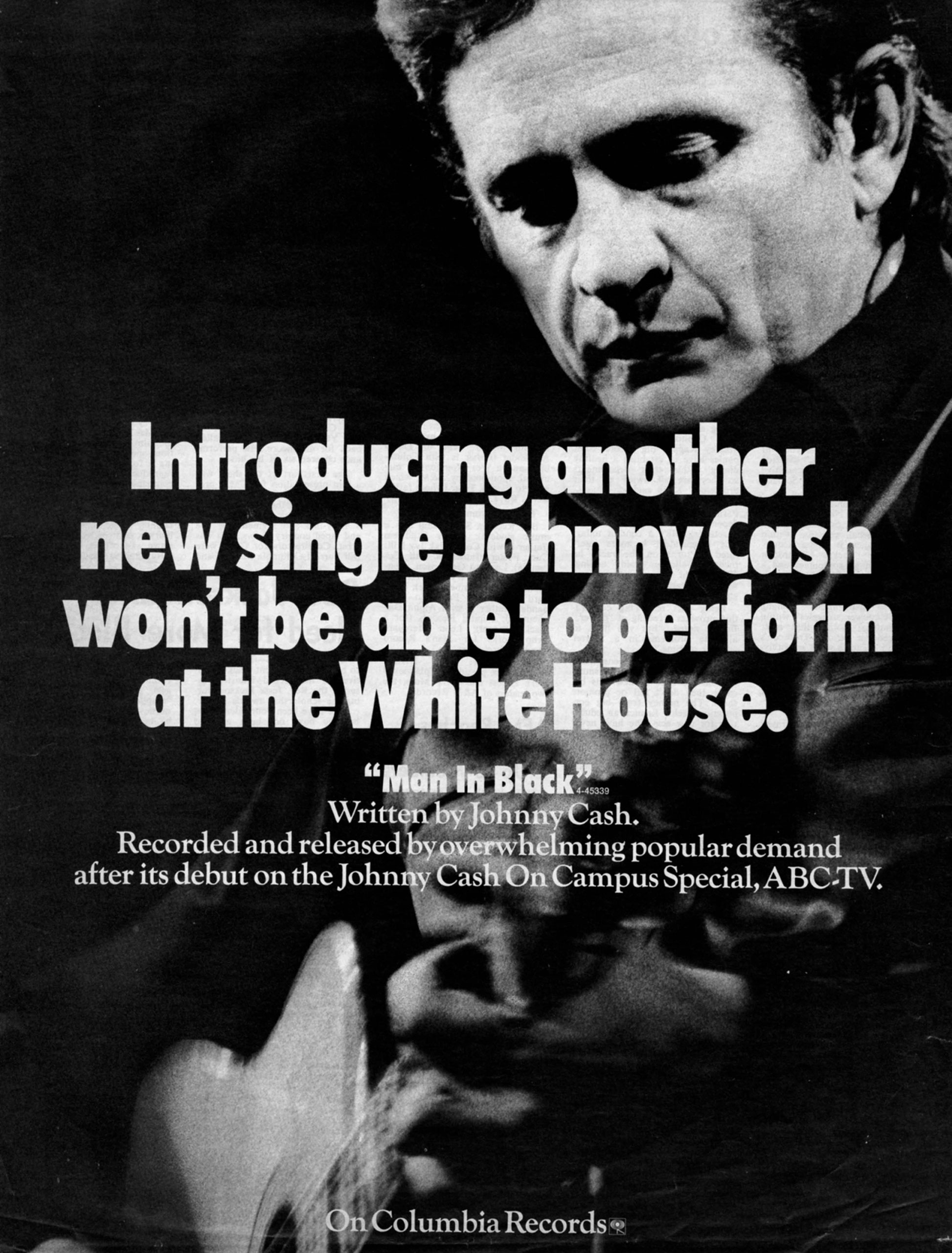 """Advertisement for Johnny Cash's single """"Man in Black."""""""