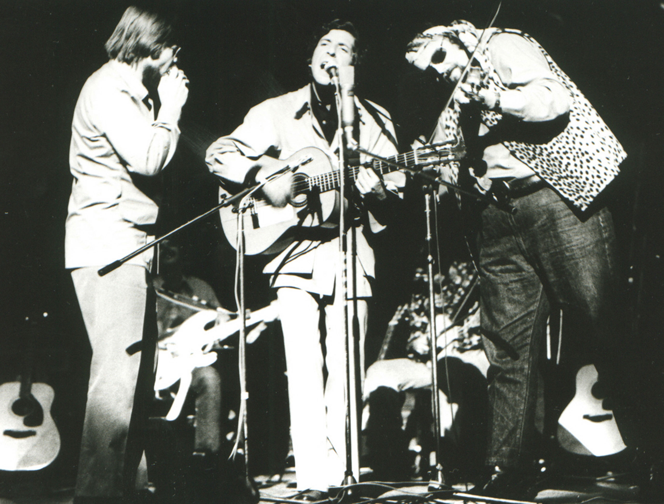 Bob Johnston, Ron Cornelius (seated), Leonard Cohen, and Charlie Daniels, early 1970s.