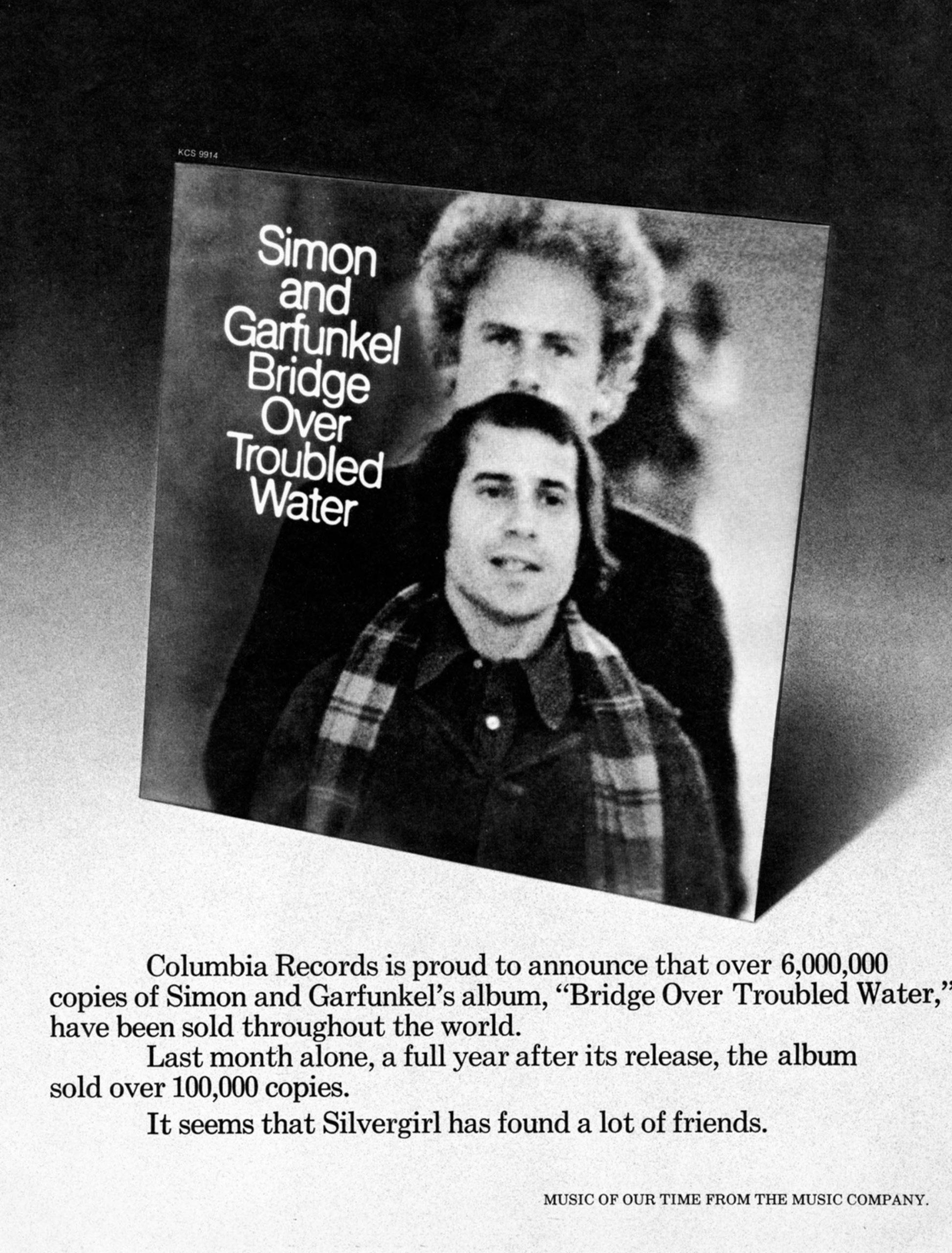 Advertisement for Simon & Garfunkel's album Bridge Over Troubled Water.