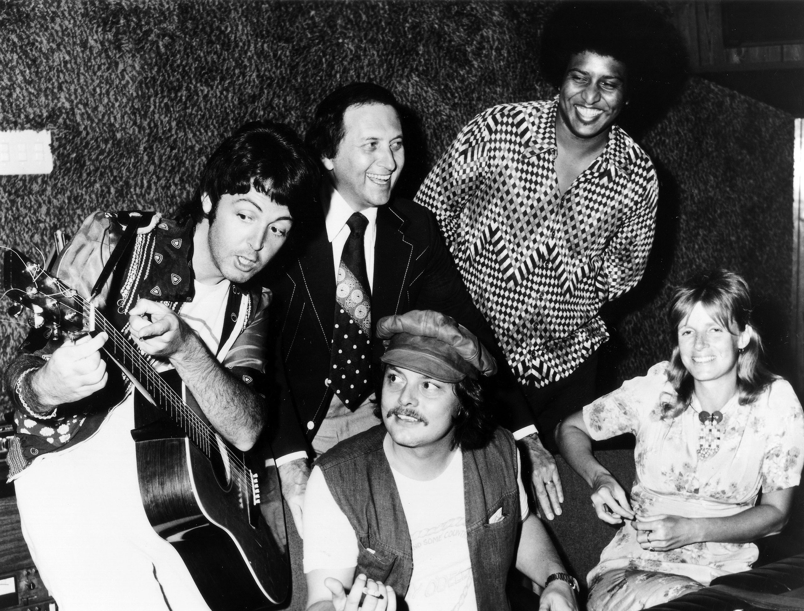 Pictured recording at Soundshop in 1974 are (l-r): Paul McCartney, Buddy Killen, Ernie Winfrey (seated), Tony Dorsey, and Linda McCartney (seated).