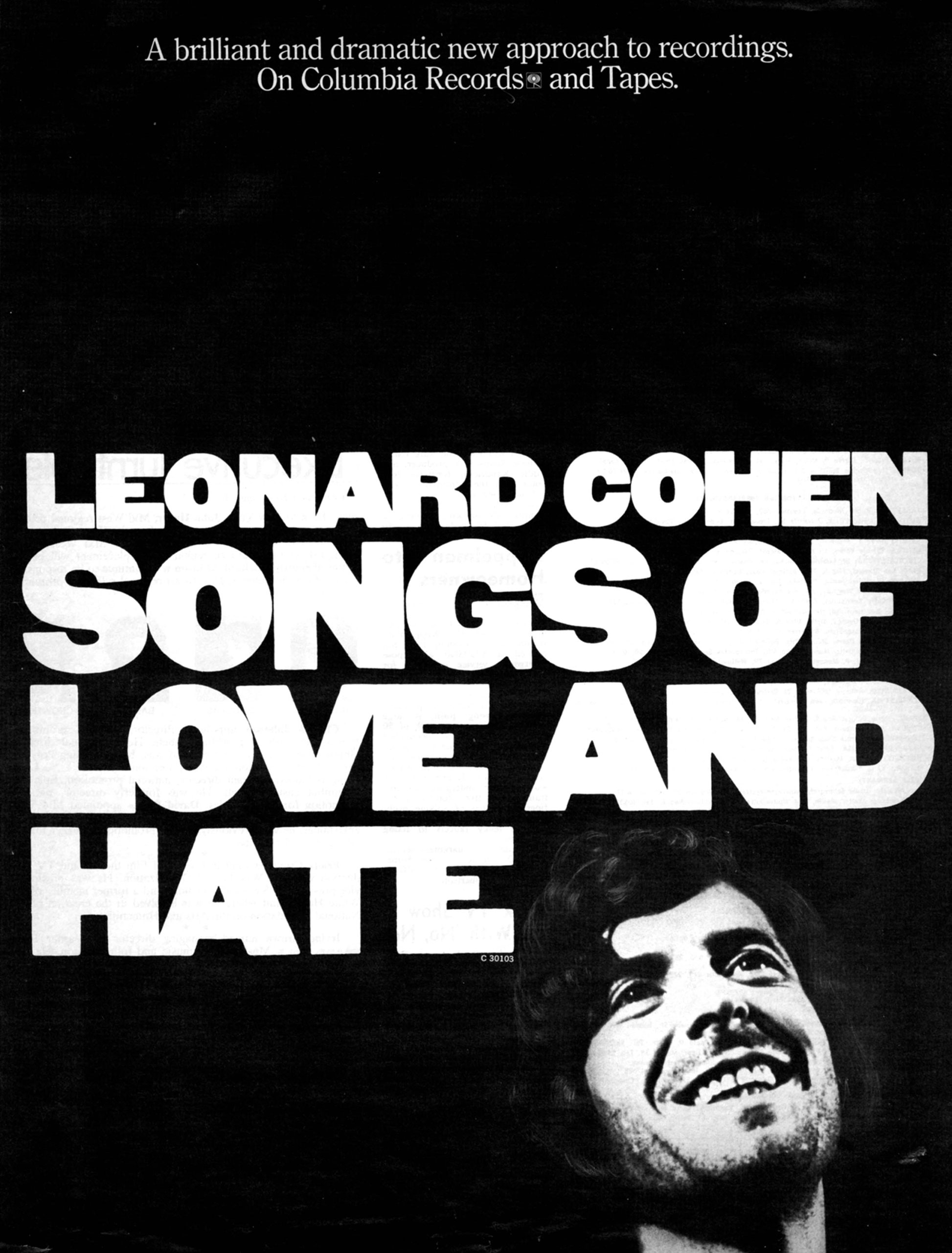 Advertisement for Leonard Cohen's album Songs of Love and Hate.