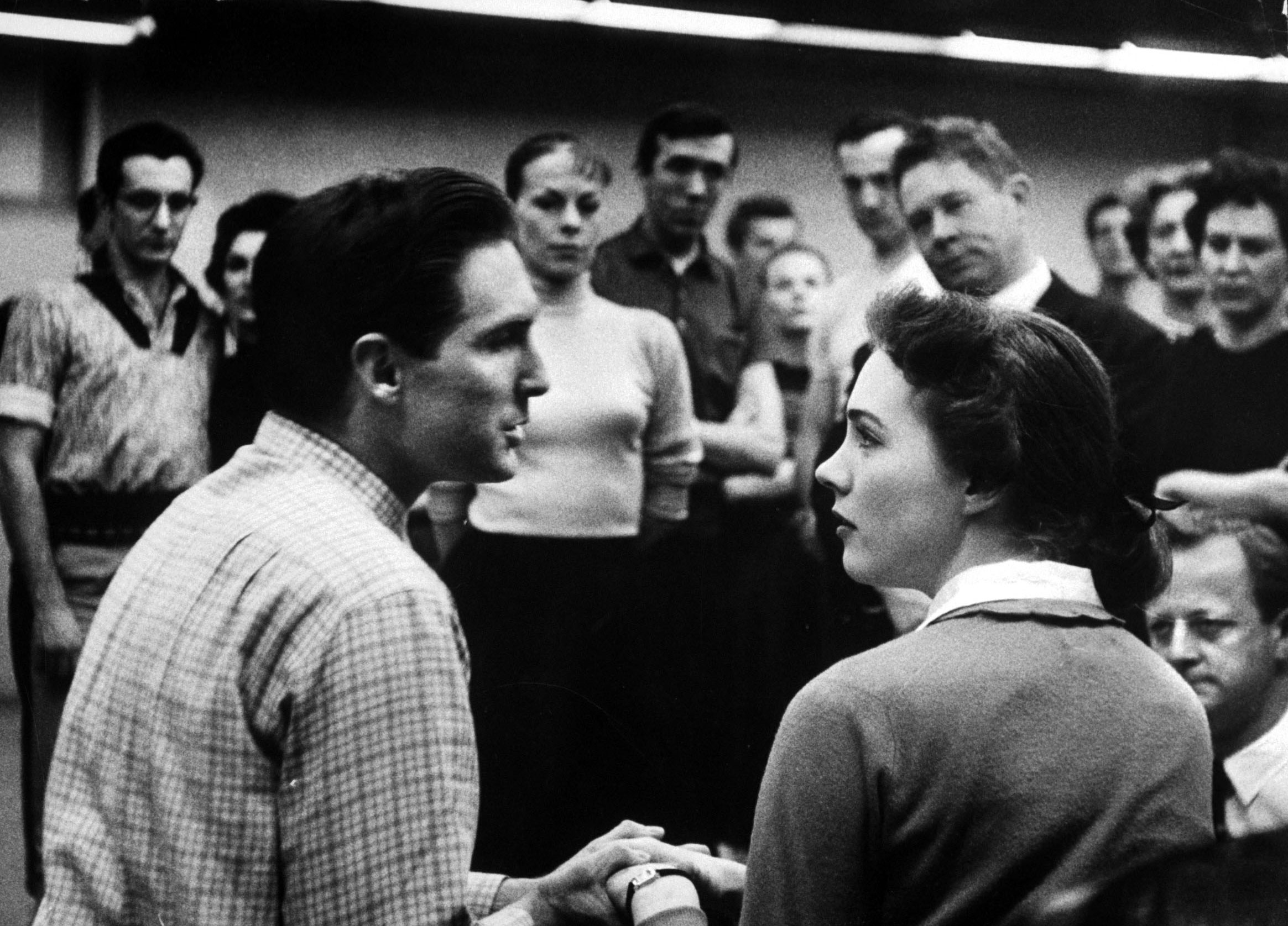 Julie Andrews and  Jon Cypher rehearsing music for the TV production of Cinderella.