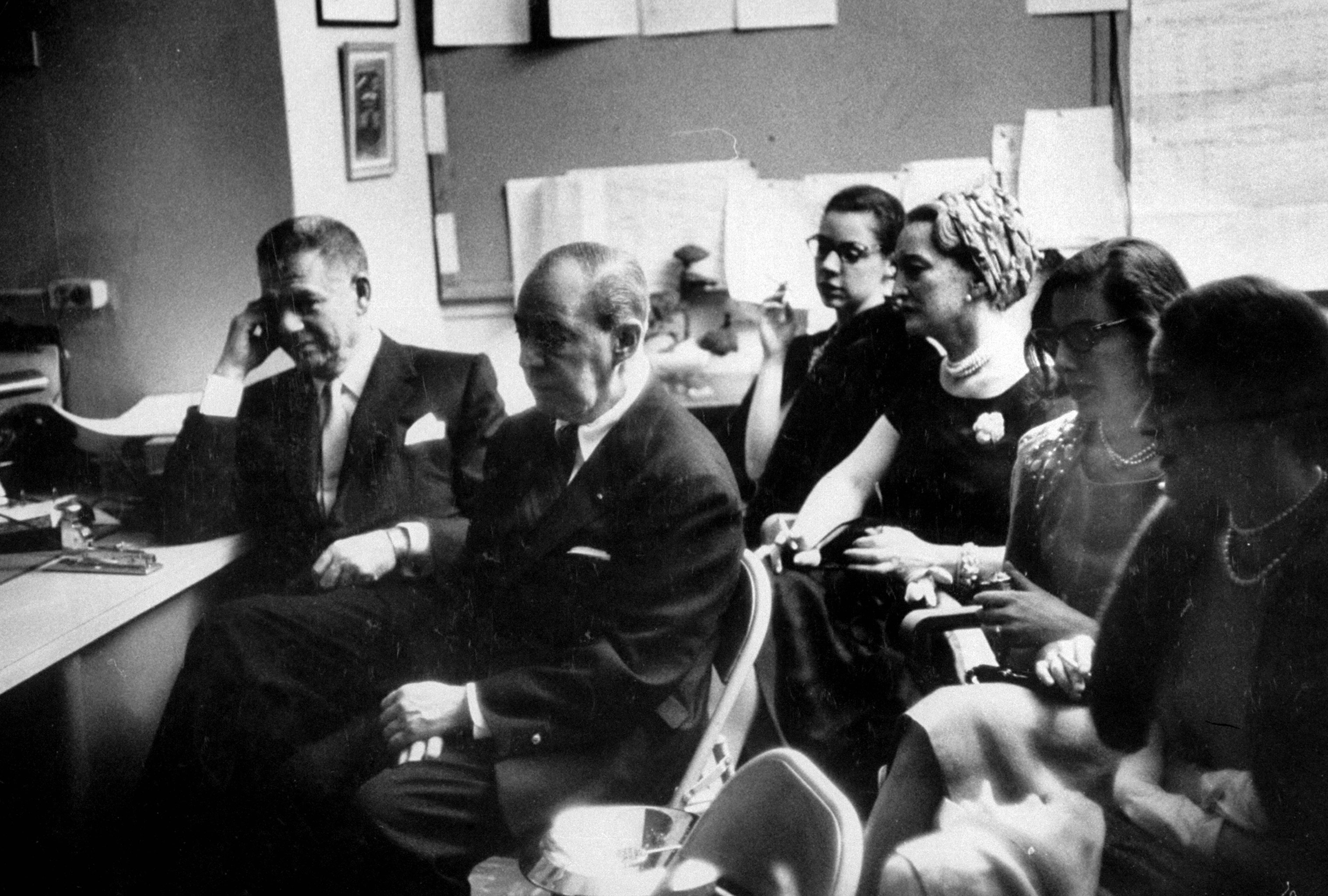 <b>Caption from LIFE.</b> Audience of authors, Oscar Hammerstein II (left) and Richard Rodgers, watch the show unfold.