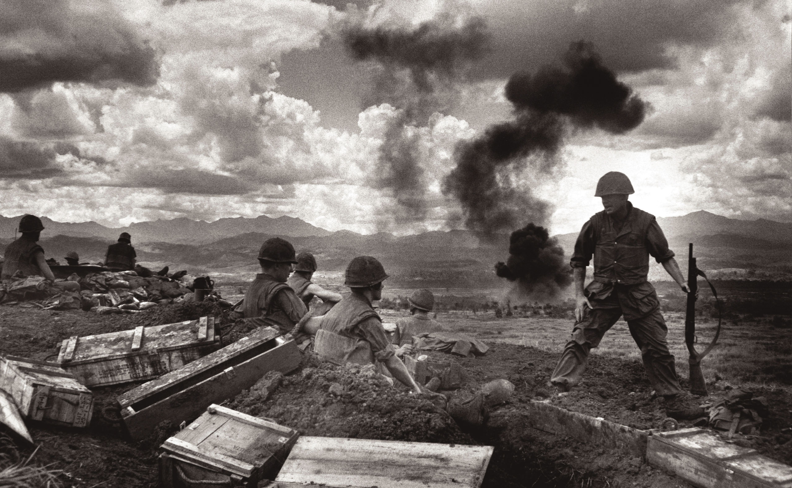 Marines holding hilltop facing enemy bombed nightly by B52s from Guam. Con Thien Vietnam, September 1967.