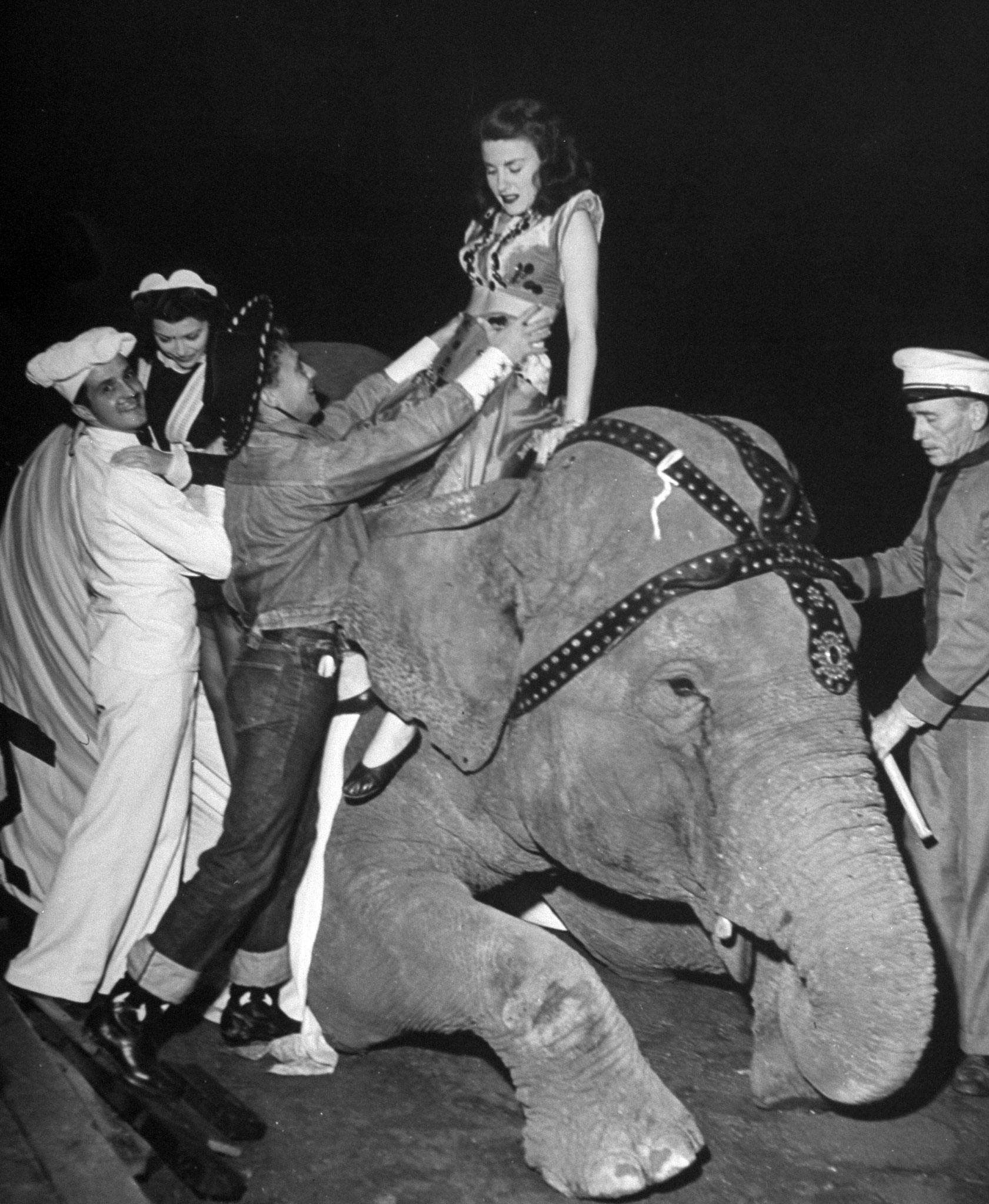 <b>Caption from LIFE.</b> Bonnie, a mournful elephant, provided a lift to the party for two co-eds.