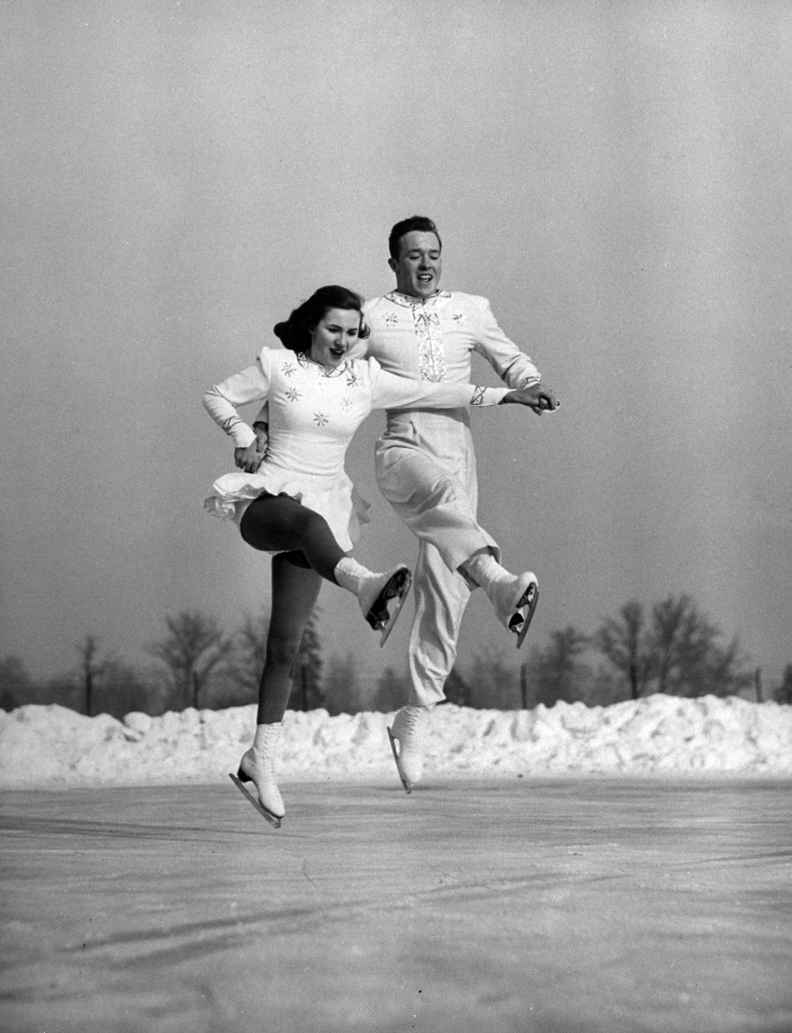 <b>Caption from LIFE.</b> New pair skaters at contest were Kennedy kids, Michael, 19 and Karol, 14, who came from Seattle, Wash. Despite their youth they won second place.