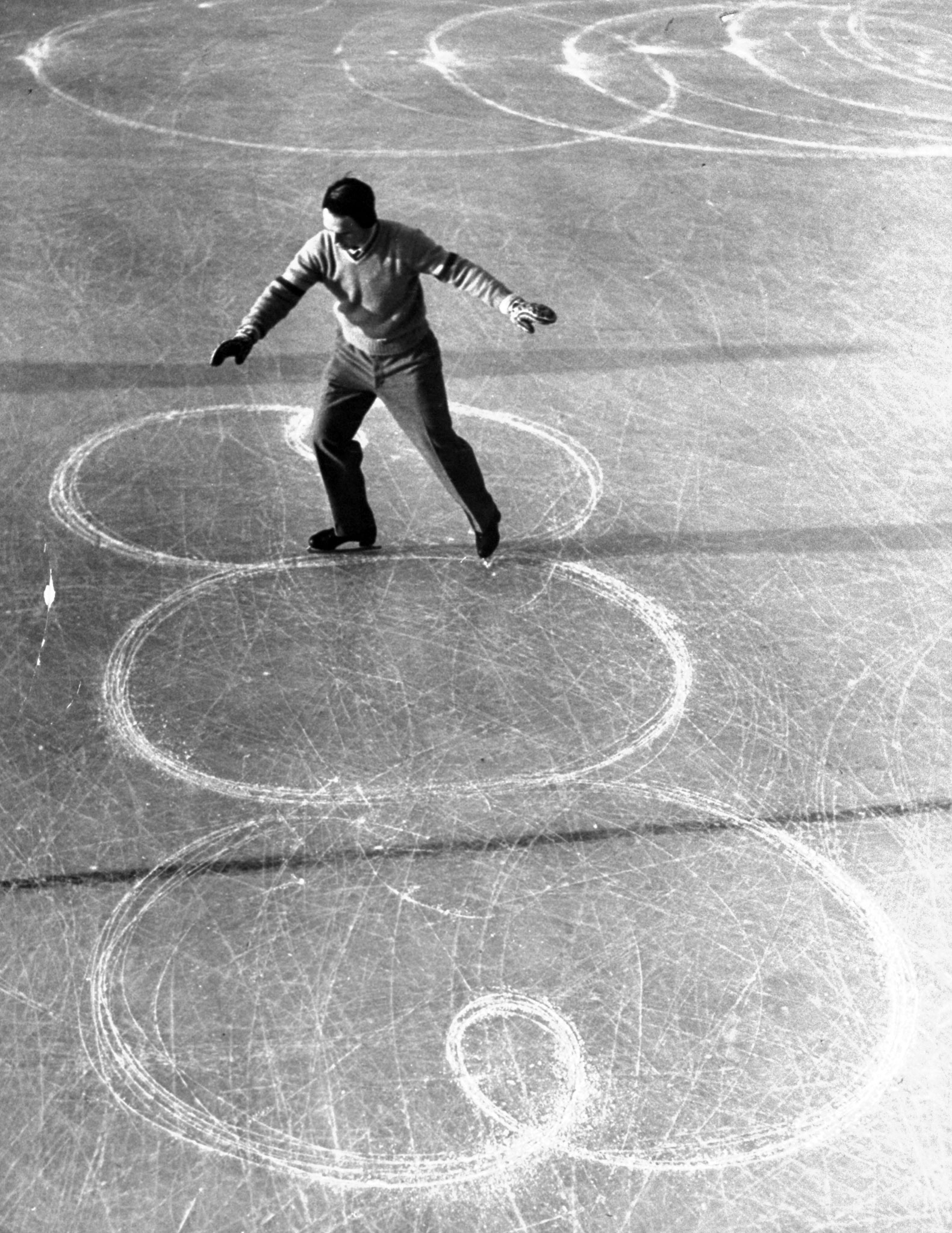 <b>Caption from LIFE.</b> Uncrowned champion of the men skaters was 17-year-old Richard Button of Englewood, N.J. He led in points but judges voted 3 to 2 for Swiss contestant.