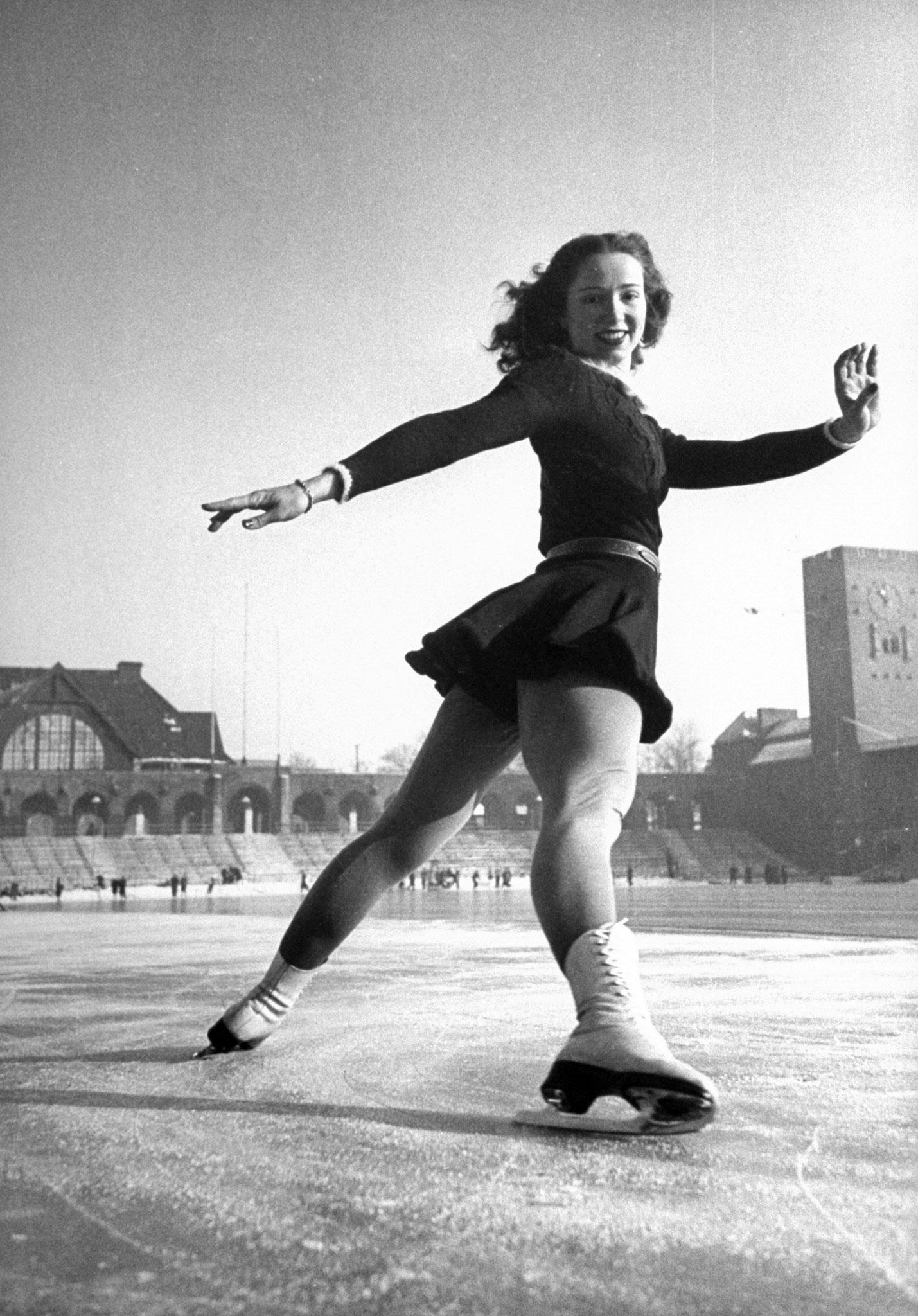 World Figure Skating Championship in Stockholm, Sweden, 1947.