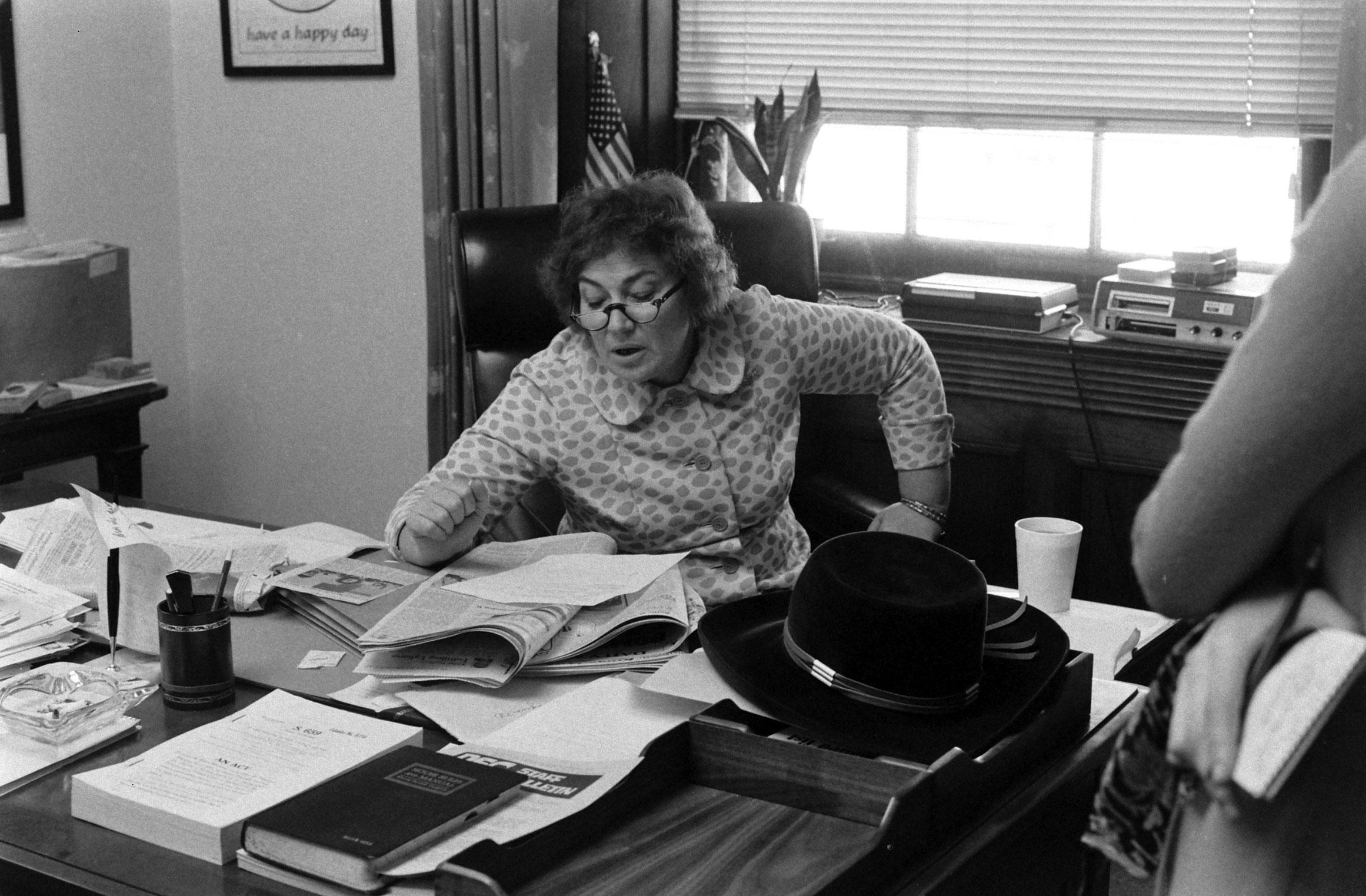 Bella Abzug at her desk, 1972.