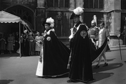 Queen Elizabeth 1 and Prince Philip at the Knight's of the Garter ceremony in June 1953.