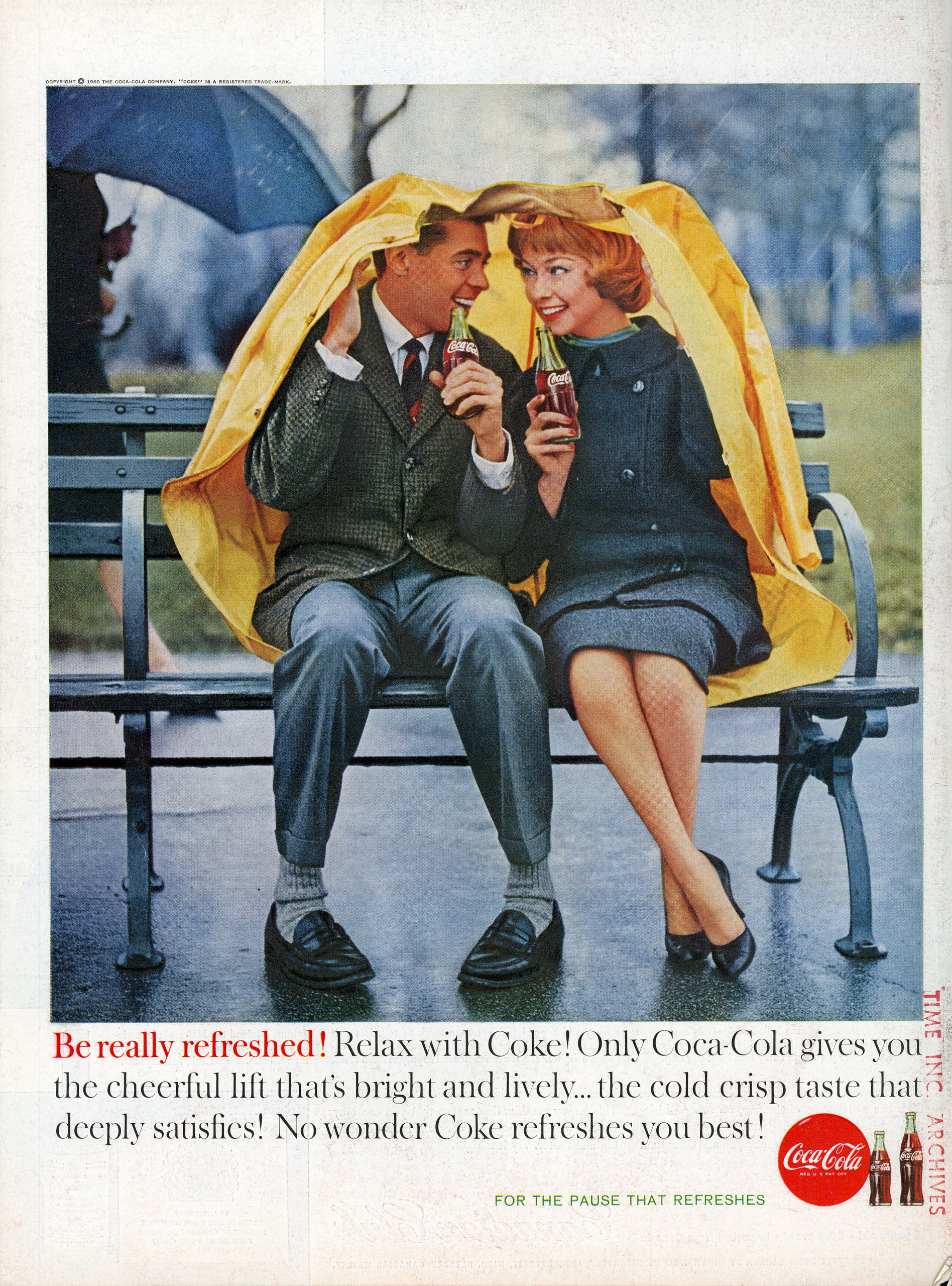 <b>Coca-Cola, April 11, 1960</b> Although Sterling Cooper never counts Coca-Cola as a client, Coca-Cola nearly counts Betty Draper as a model. The ad she models for, later ditched when the agency decides to go with an Audrey Hepburn look over Betty's Grace Kelly countenance, is a shot of a picture-perfect picnicking family, a counterpoint to Betty and Don's troubled real-life family. This real Coca-Cola ad from the same year focuses not on familial love but on innocent romantic love, with words by a copywriter who dealt heavily in exclamation points.