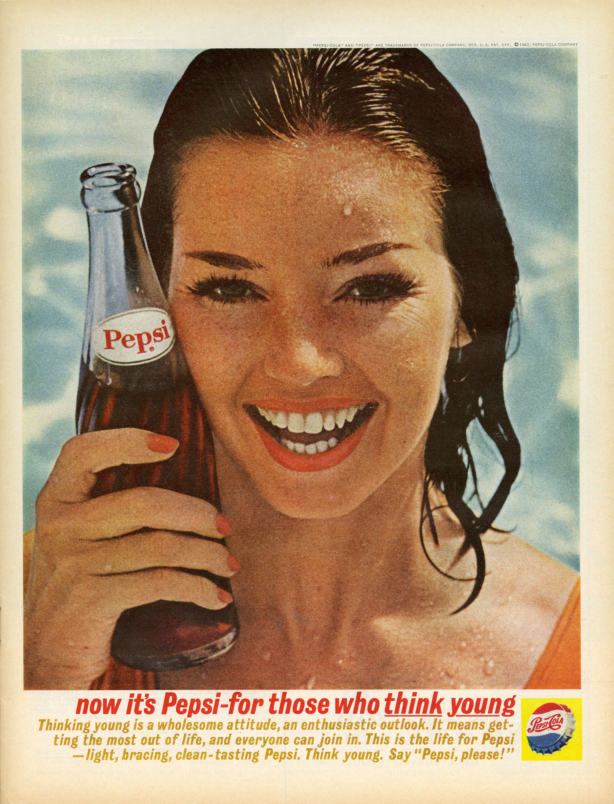 "<b>Pepsi, August 31, 1962</b> In Season 3, Sterling Cooper produces a commercial for Patio Cola—rebranded in 1963 as Diet Pepsi—in which an Ann-Margret look-alike sings ""bye bye sugar"" to the tune of ""Bye Bye Birdie."" This real print ad for Pepsi, from the same year that the episode takes place, relies on the same youthful glow Sterling Cooper was hoping to achieve by alluding to newly crowned superstar Ann-Margret. Youth, the ad suggests, is less about one's age than one's attitude (assuming it's accompanied by a bottle of Pepsi)."