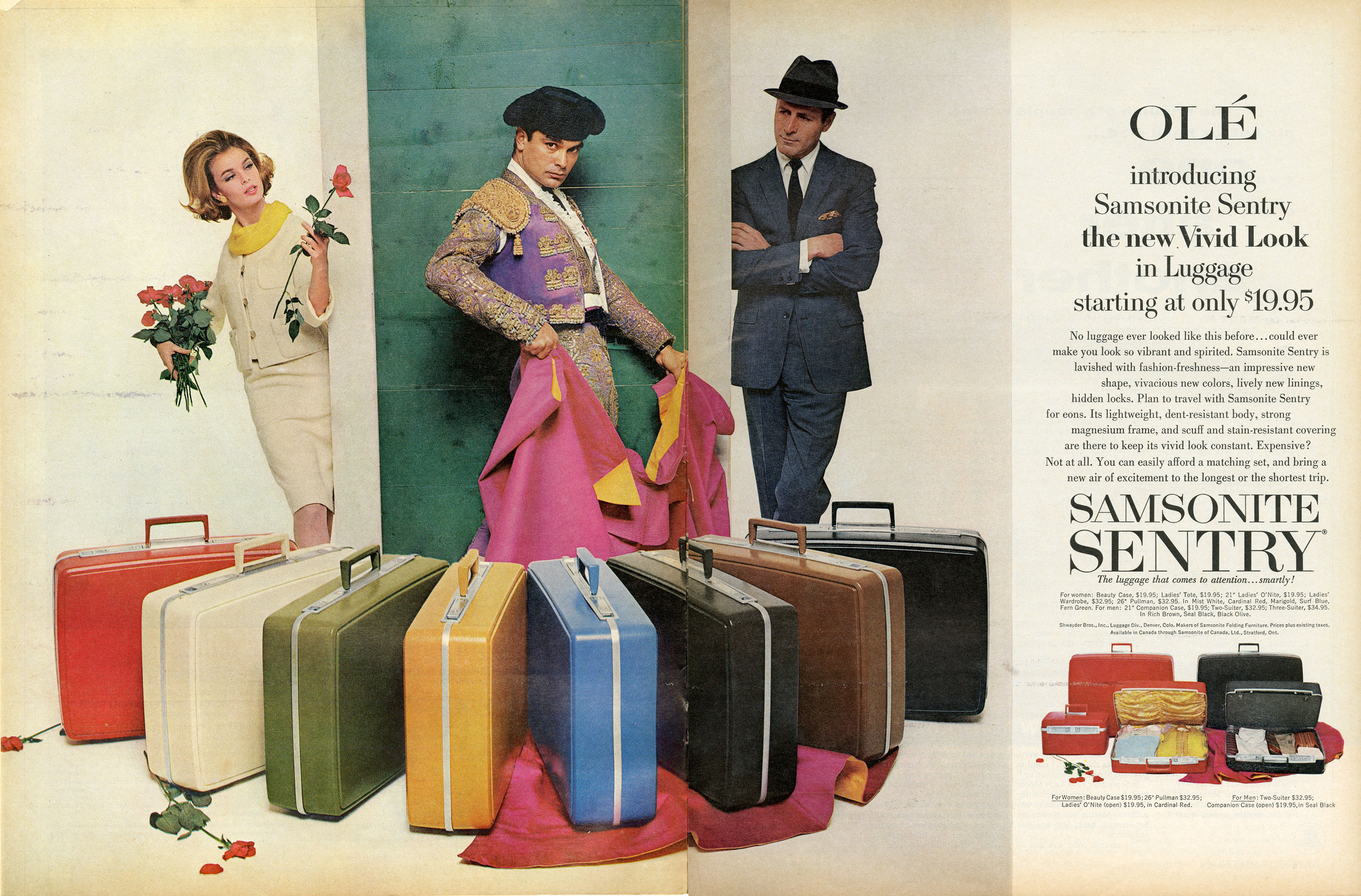 "<b>Samsonite, July 12, 1963</b> <i>Mad Men</i>'s pitch for Samsonite coincides with the legendary Muhammed Ali vs. Sonny Liston fight for World Heavyweight Champion. Don's last-ditch idea is to play off the photo of a victorious Ali that appeared in newspapers across the country following the fight, comparing the suitcase to the boxing champion. This real Samsonite ad mentions the luggage's durability in the copy (""dent-resistant body, strong magnesium frame""), but visually prioritizes its value as a handsome fashion accessory to take on exotic trips."