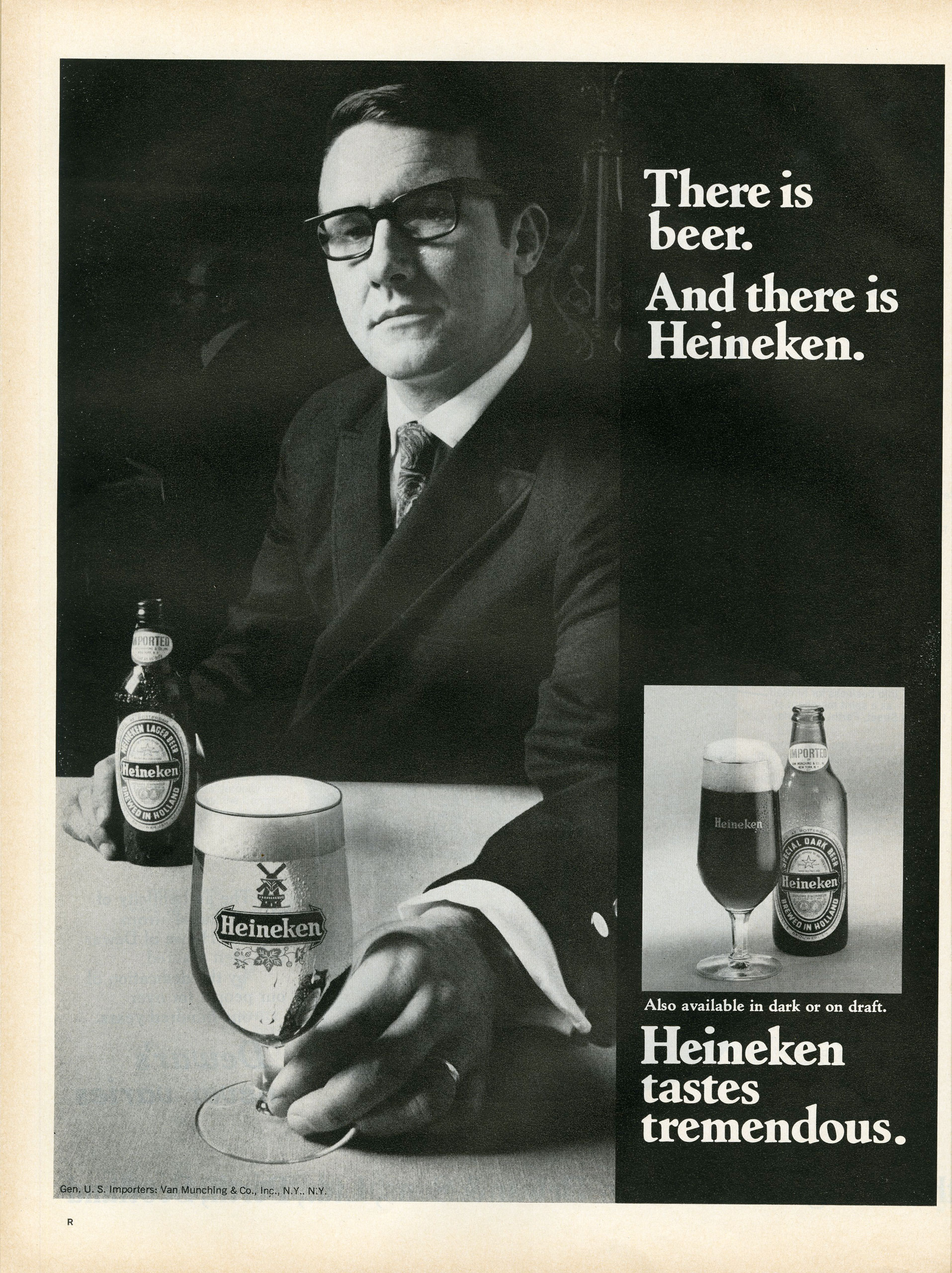 <b>Heineken, September 12, 1969</b> Don pitches Heineken on targeting suburban housewives by advertising in grocery stores.  Conversely, this ad from the late 1960s is explicitly aimed at men, and not just any men: the model is bespectacled (intelligent), suited up (a businessman) and bejeweled (married). In contrast to ads like Chevrolet's that rely on ample text, this one is simple, offering two straightforward takeaways. First, that Heineken's product is distinguished from its peers. And second, that it simply tastes good.