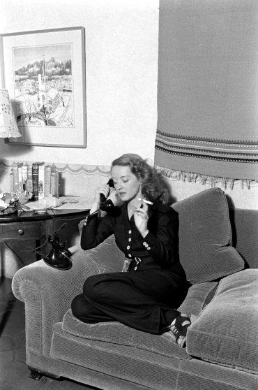 Bette Davis on the phone, 1938.
