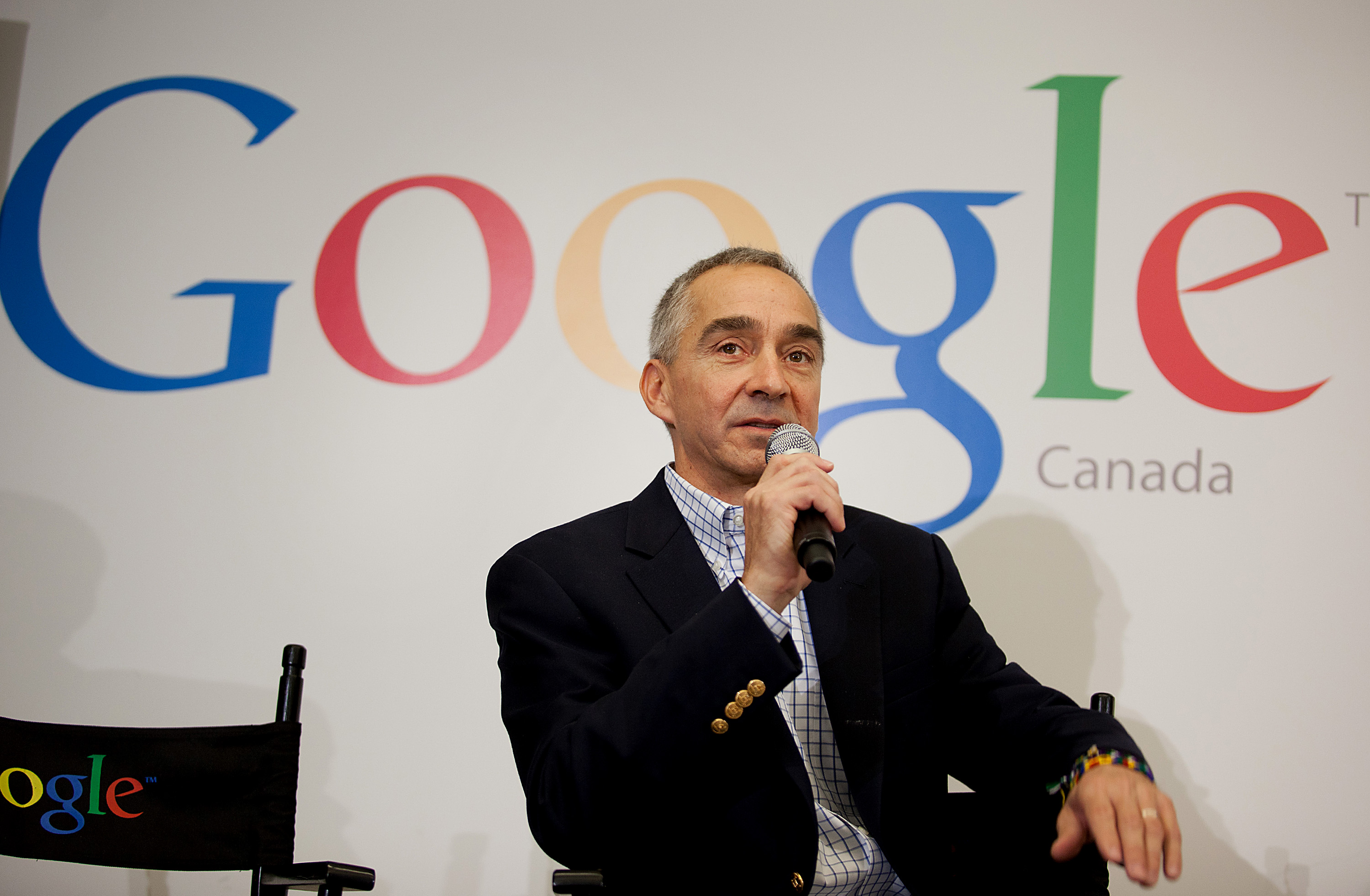 Patrick Pichette, Chief Financial Officer of Google Inc., speaks to the press during a media tour for the grand opening of Google Inc.'s new office in Toronto on Nov. 13, 2012.