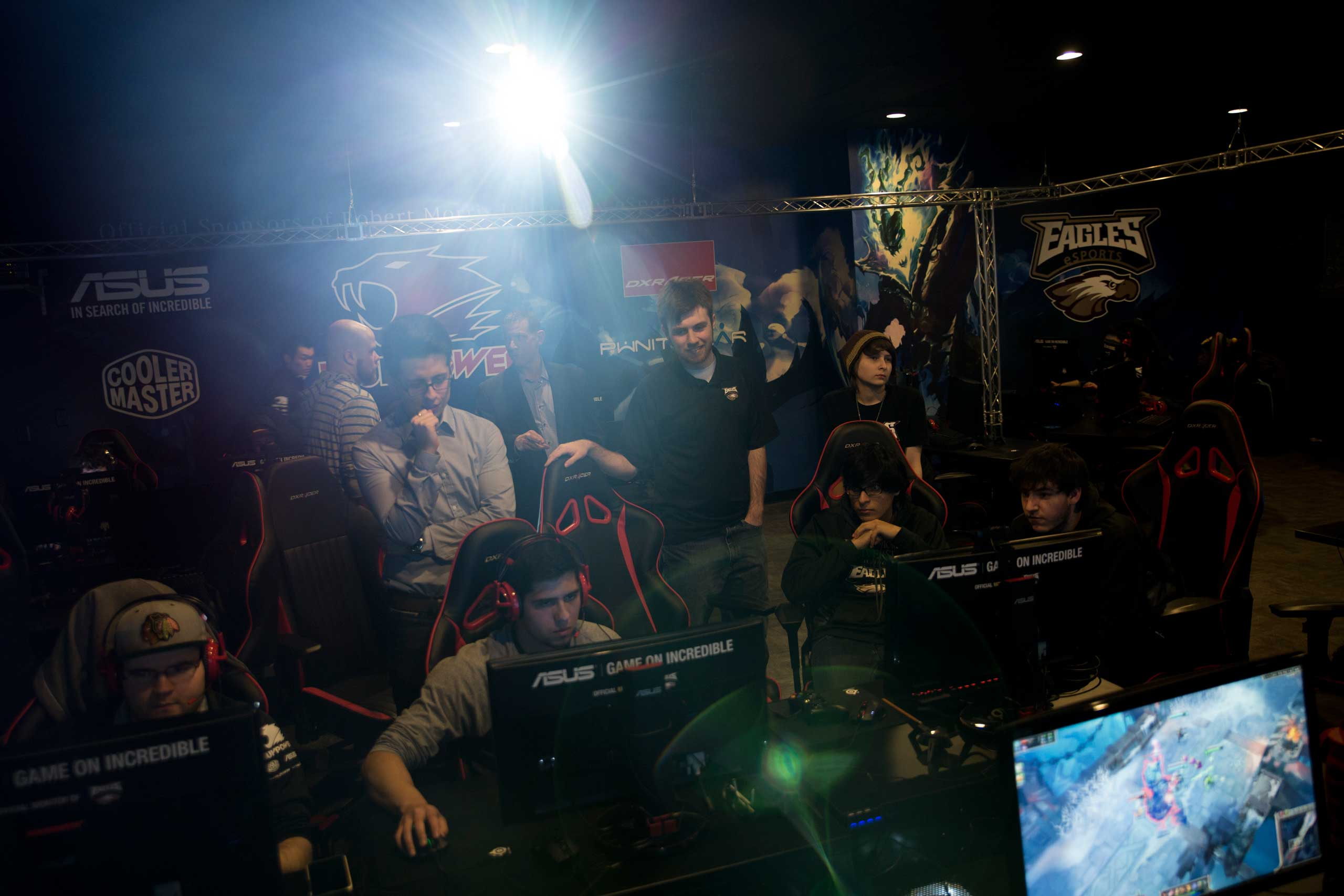 Student video game athletes play <i>League of Legends</i> and other games in Robert Morris University's video game practice space in Chicago, March 18, 2015.