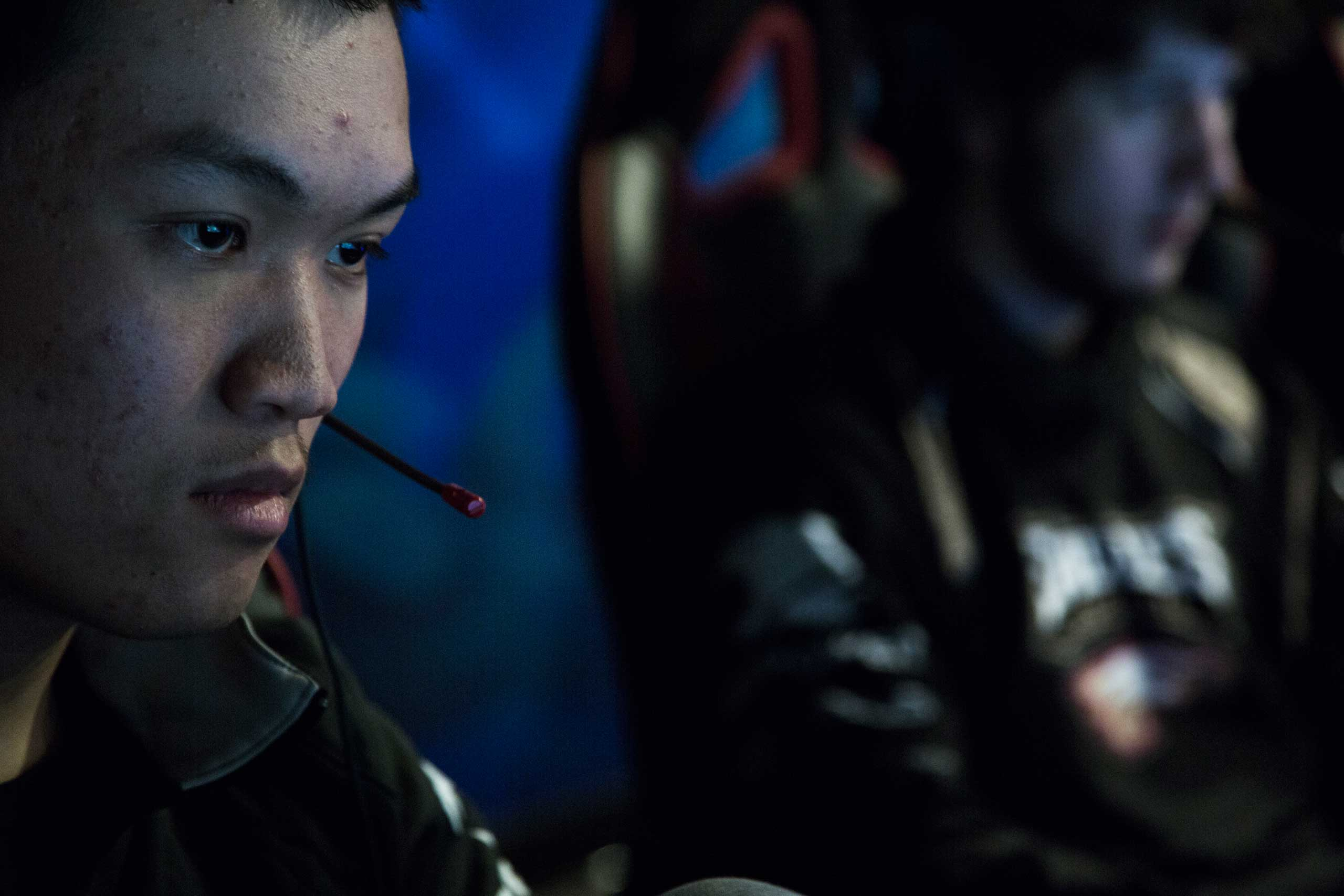 "Derek ""Zig"" Shao (left), 20, and Blake ""Oberan"" Soberanis, 22, play <i>League of Legends</i> in Robert Morris University's video game practice space in Chicago, March 18, 2015. Shao and Soberanis are two of the best members on the school's video game team."