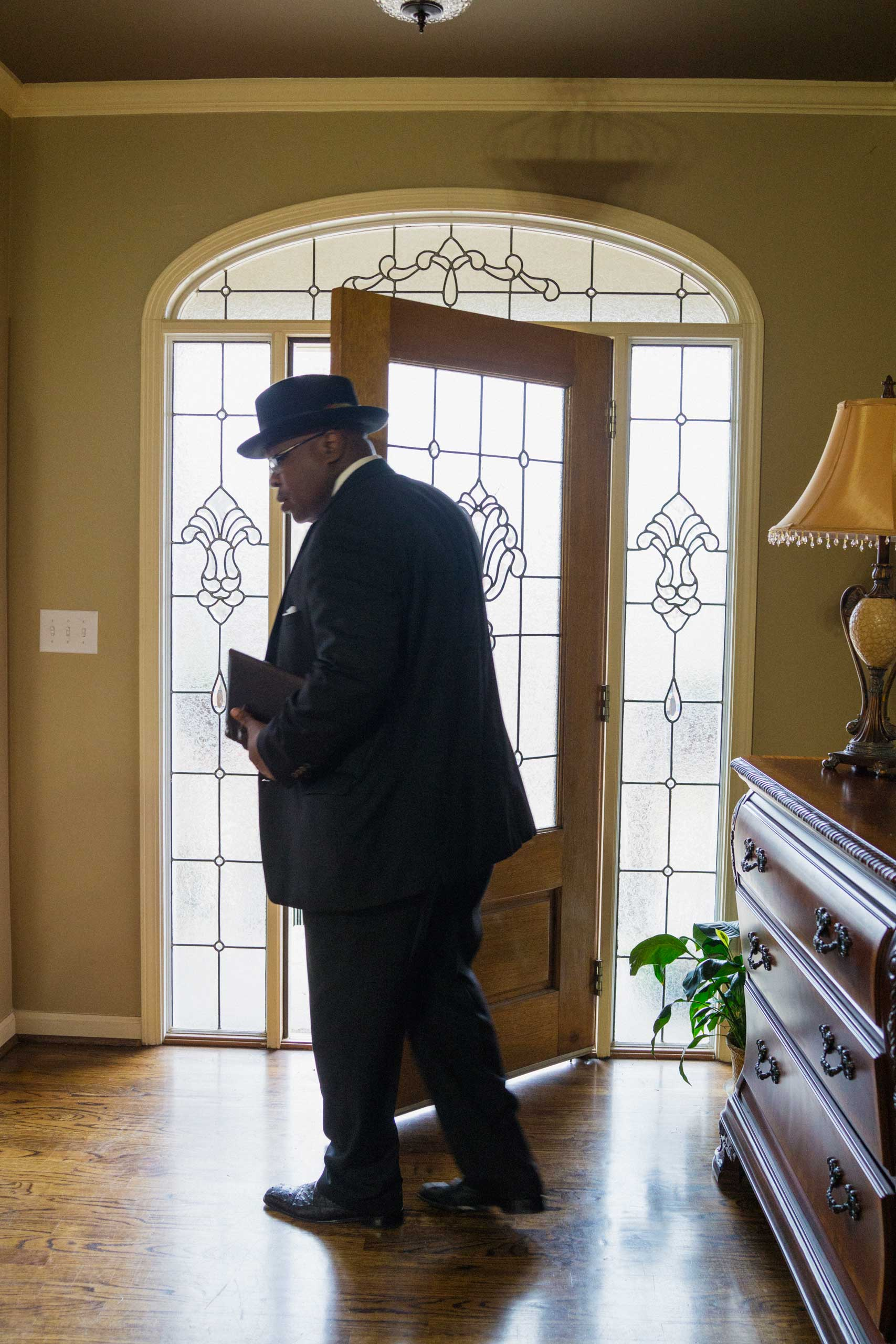 Pete Garrett prepares to leave for services at 16th Street Baptist Church in Birmingham, Ala. on March 22, 2015.