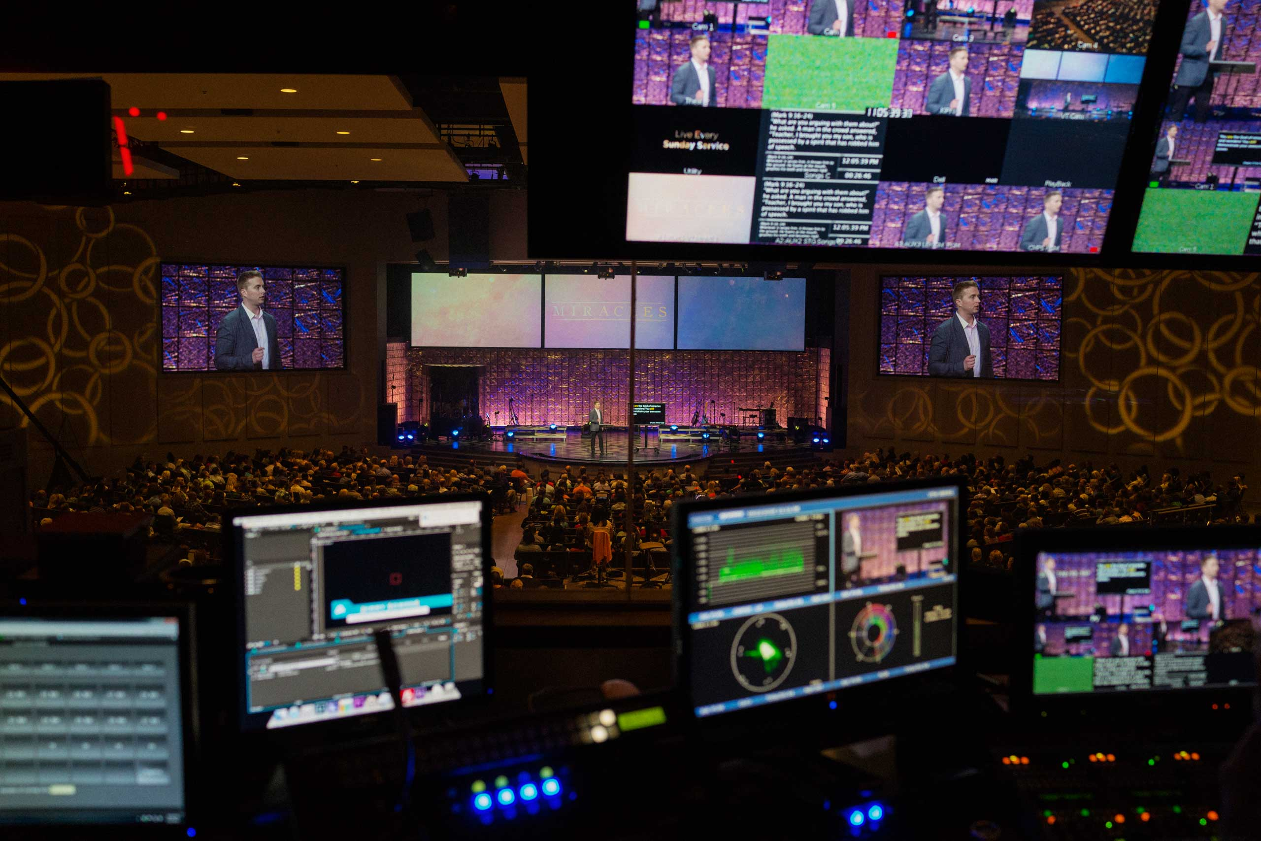 The view of services from the sound booth  at Church of the Highlands.