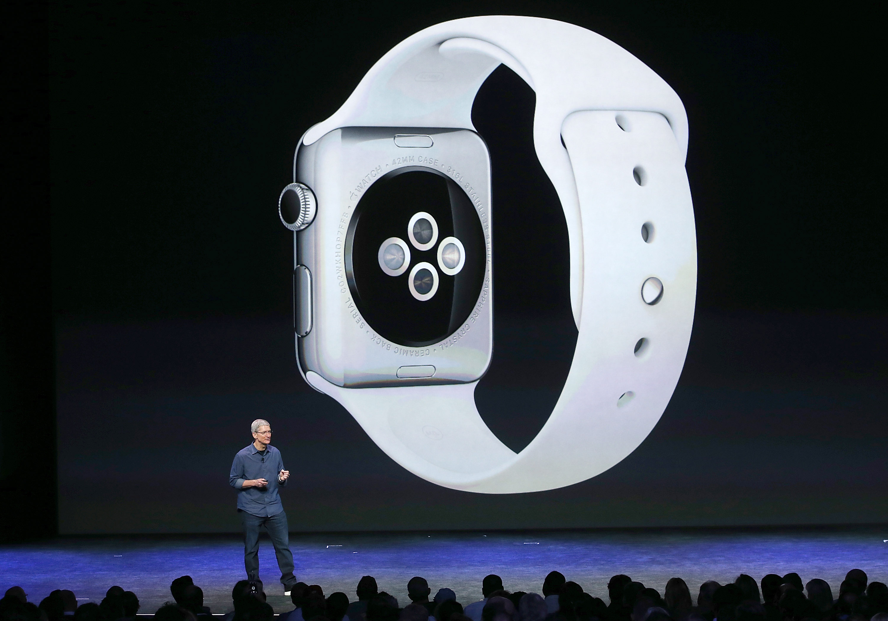 Apple CEO Tim Cook speaks about the new Apple Watch during an Apple special event at the Flint Center for the Performing Arts on September 9, 2014 in Cupertino, California.