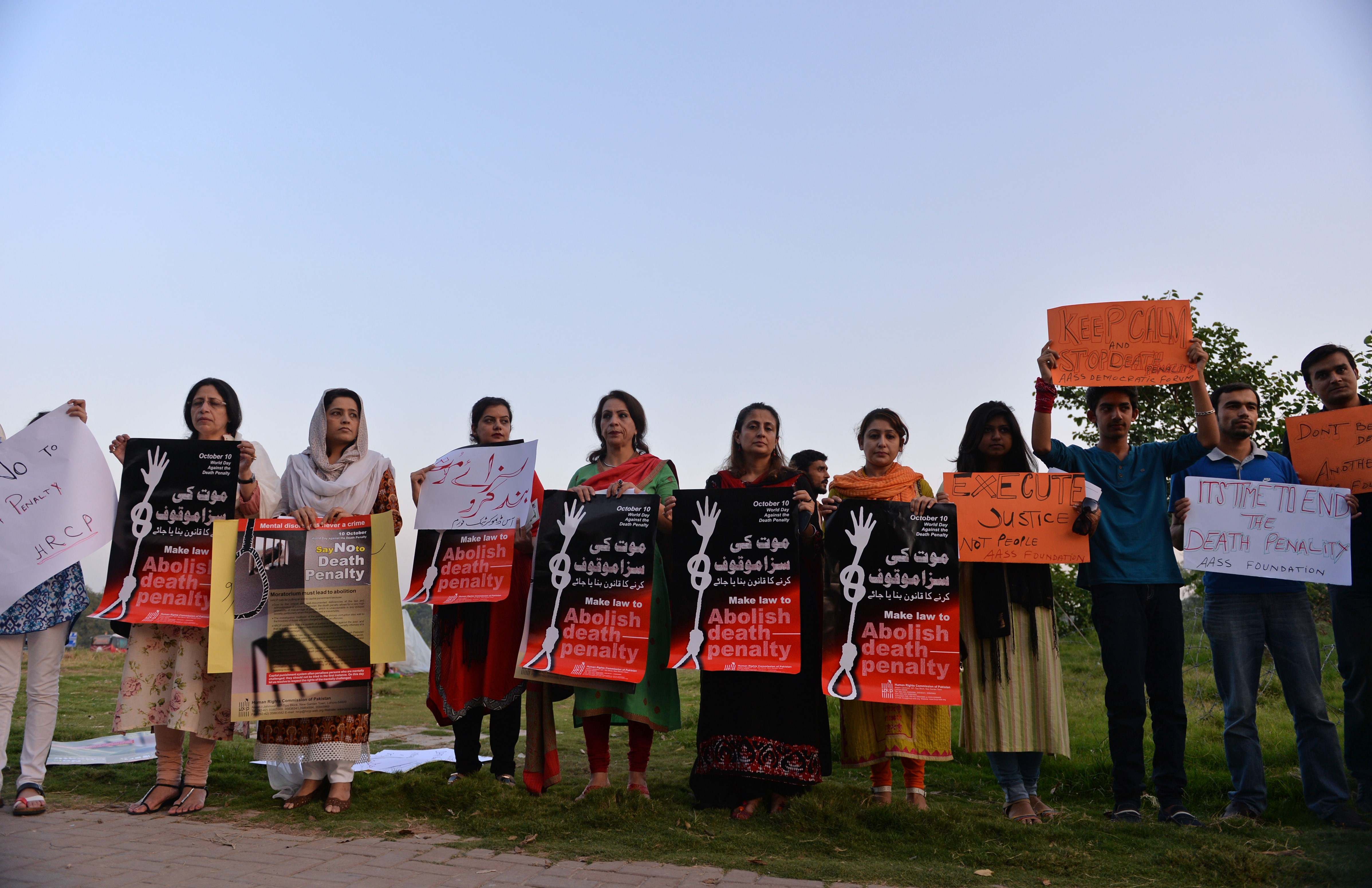 Pakistani NGO activists protest the death penalty in Islamabad on Oct. 10, 2014