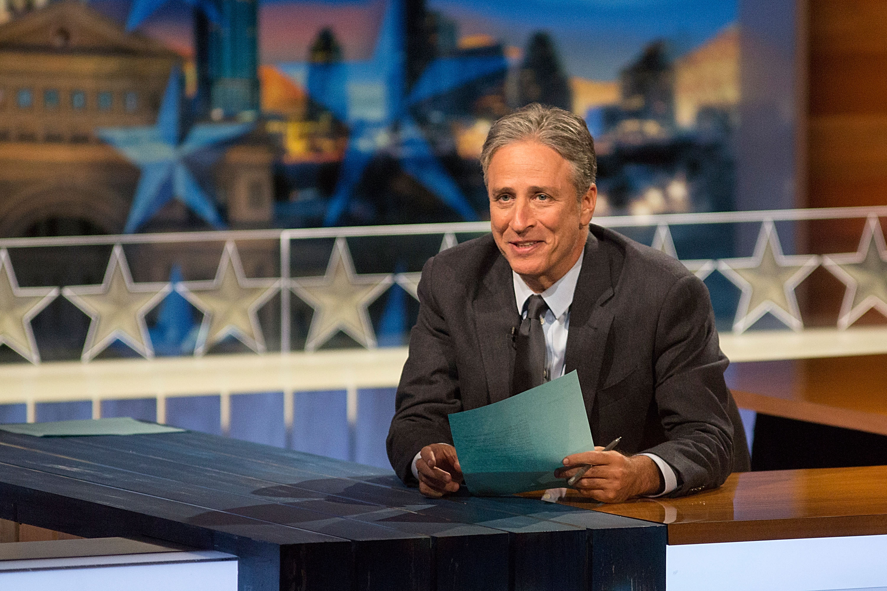 Host Jon Stewart at  The Daily Show with Jon Stewart  covers the Midterm elections in Austin with  Democalypse 2014: South By South Mess  at ZACH Theatre on October 28, 2014 in Austin, Texas.  (Photo by Rick Kern/Getty Images for Comedy Central)