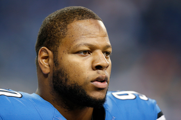 Ndamukong Suh of the Detroit Lions looks on against the Miami Dolphins during the game at Ford Field in Detroit on Nov. 9, 2014