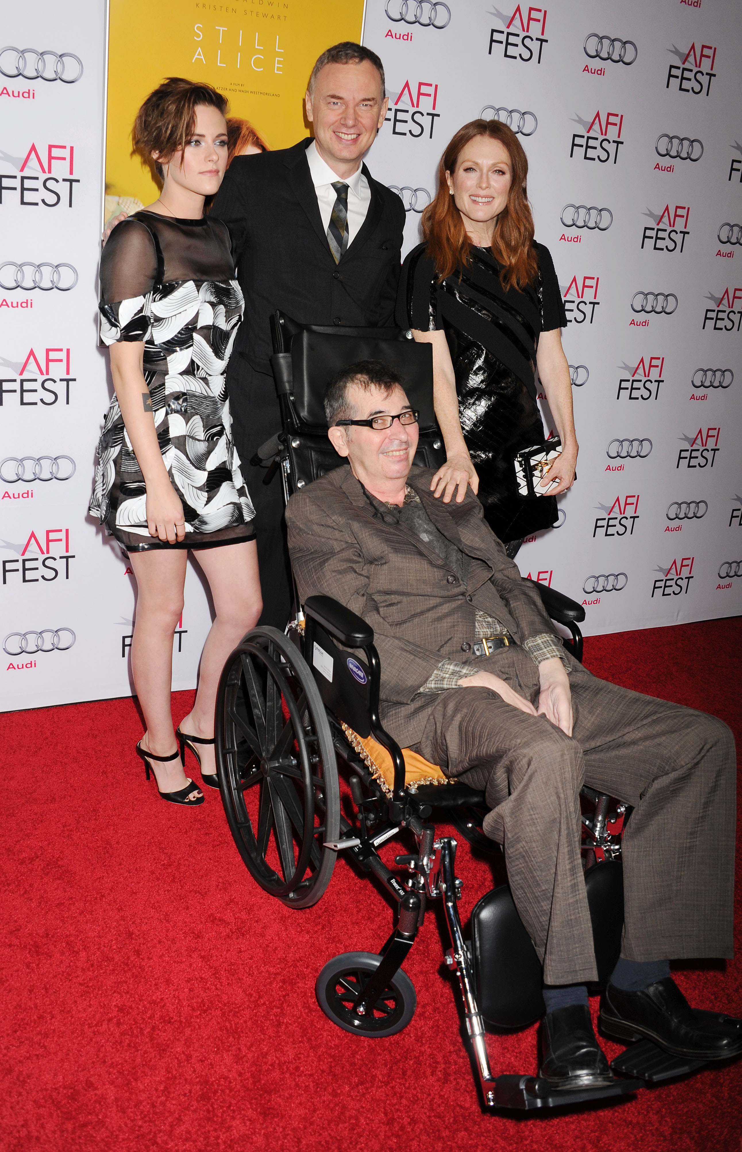 From left clockwise, actress Kristen Stewart, director Wash Westmoreland, actress Julianne Moore and director Richard Glatzer arrive at a premier of Still Alice at Dolby Theatre in Hollywood on Nov. 12, 2014