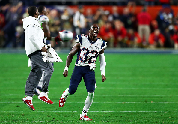 Devin McCourty of the New England Patriots celebrates their 28-24  win over the Seattle Seahawks during Super Bowl XLIX at University of Phoenix Stadium in Glendale, Ariz., on Feb. 1, 2015