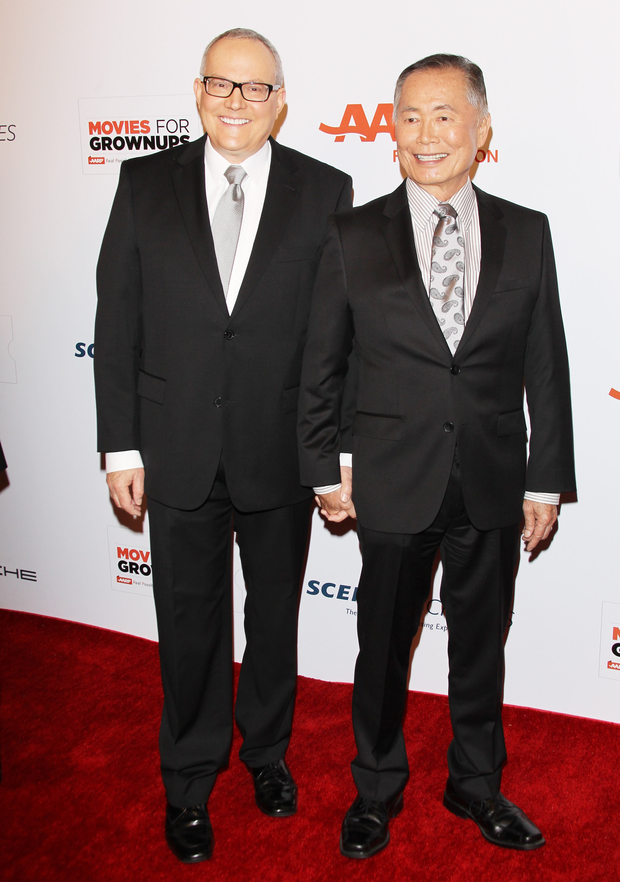 George Takei and Brad Takei arrive at the AARP 14th Annual  Movies For Grownups  Awards Gala held at the Beverly Wilshire Four Seasons Hotel on February 2, 2015 in Beverly Hills, California.