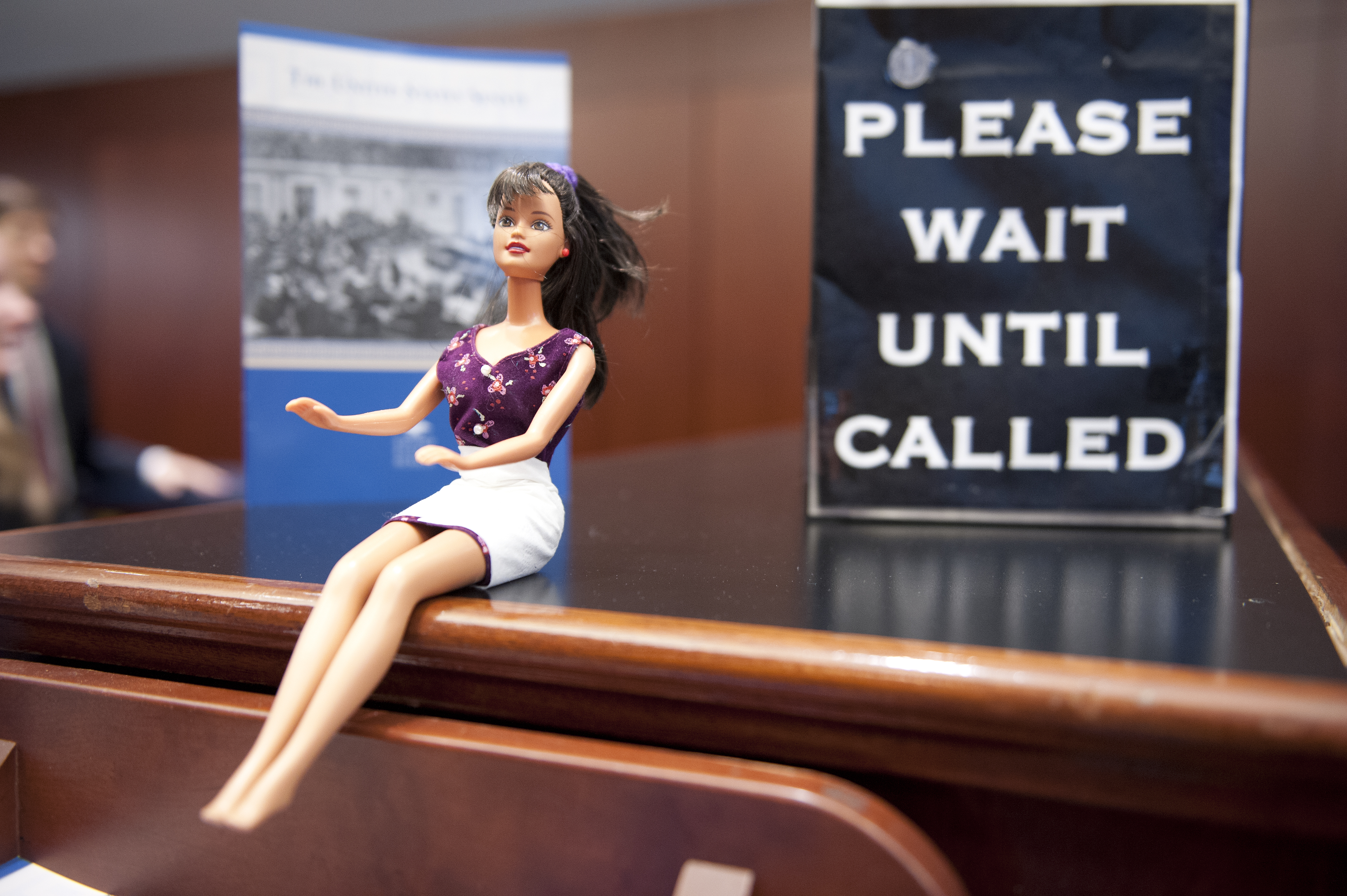 Check In Barbie greets visitors to the Senate Gallery Check In in the Capitol Visitors Center of the U.S. Capitol on January 15, 2014.