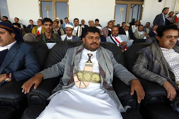 SANAA, YEMEN - FEBRUARY 07: A Houthi Leader Mohamad Ali al Houthi is seen during the ceremony that celebrates constitutional declaration issued by the Shiite Houthi movement that dissolves parliament and establishing a 551-member  transitional council , in Sanaa, Yemen on February 07, 2015. (Photo by Mohammed Hamoud/Anadolu Agency/Getty Images)