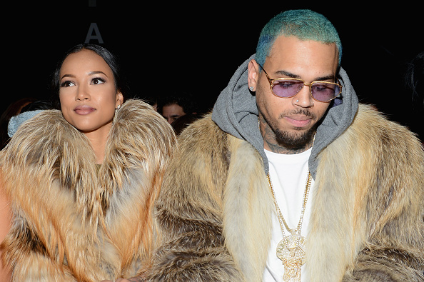 Karrueche Tran and Chris Brown attend the Michael Costello fashion show during Mercedes-Benz Fashion Week at the Lincoln Center in New York City on Feb. 17, 2015