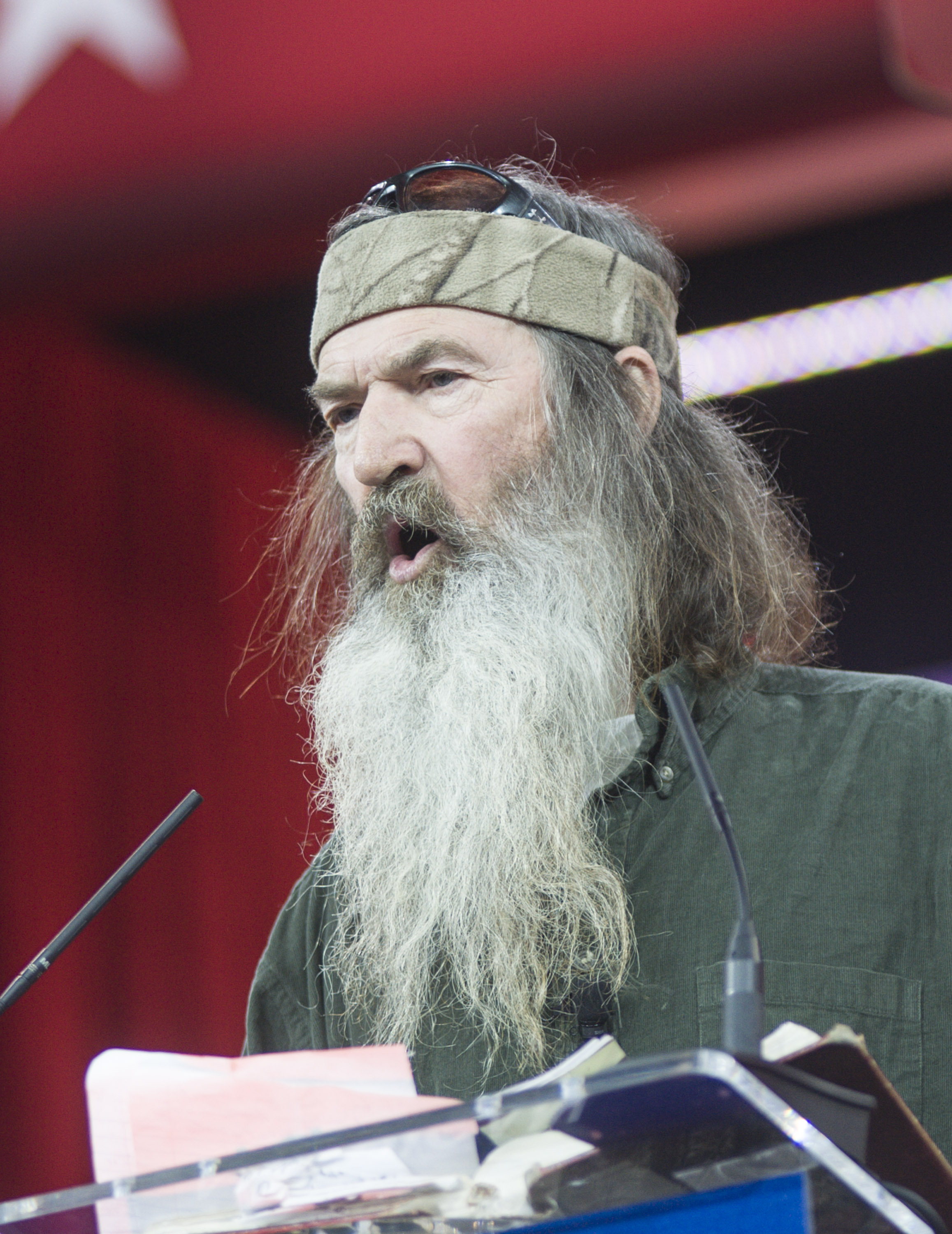 Phil Robertson of A&E's Duck Dynasty addresses the 42nd annual Conservative Political Action Conference (CPAC) at the Gaylord National Resort Hotel and Convention Center on February 27, 2015 in National Harbor, Maryland.