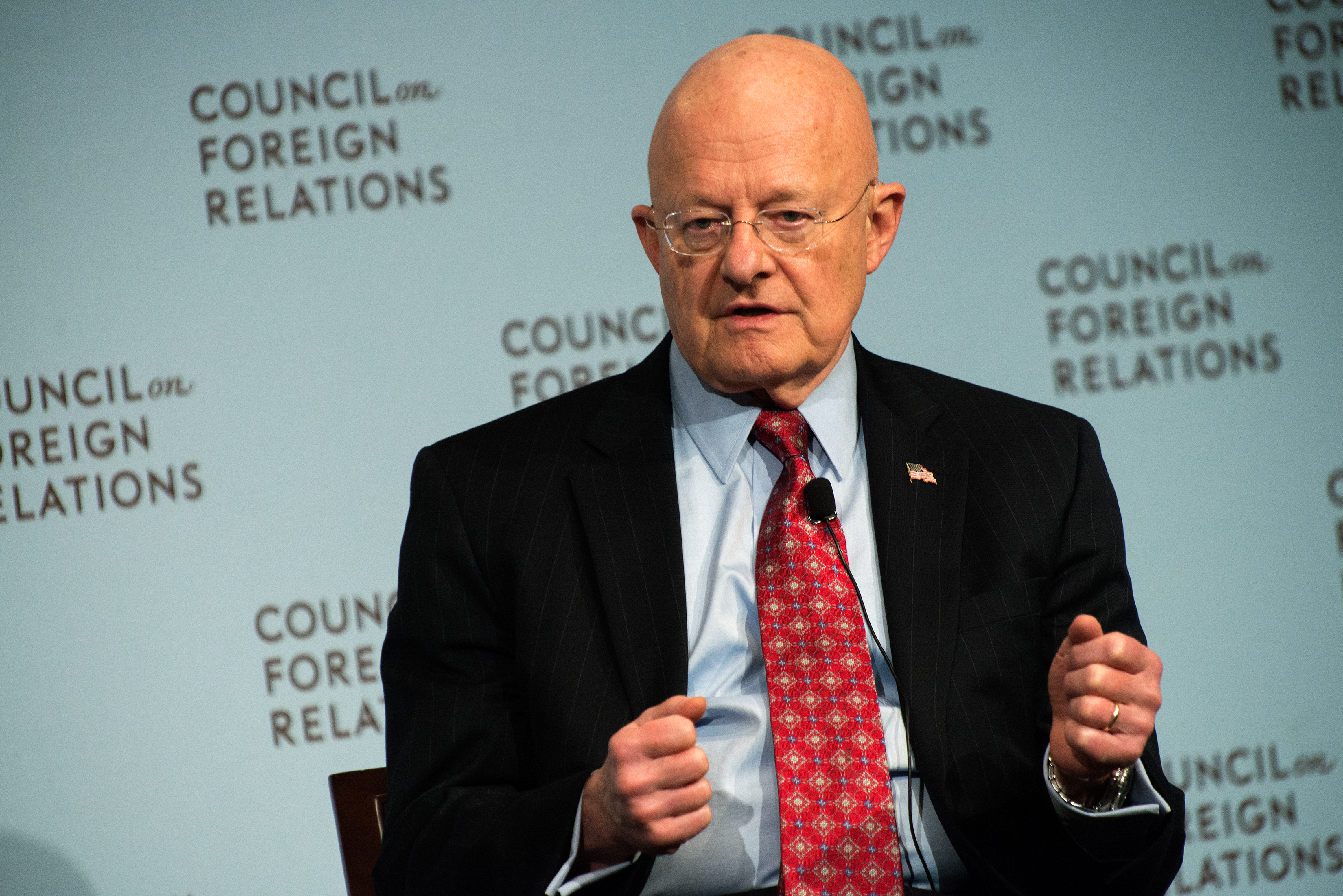 Director of National Intelligence James Clapper speaks at the Council on Foreign Relations on March 2, 2015 in New York City.