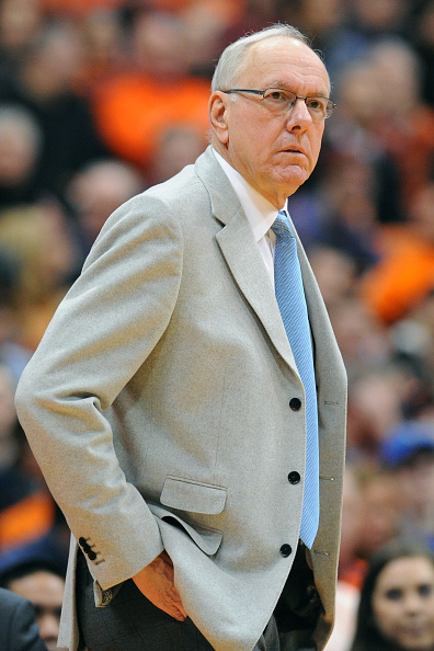 Head coach Jim Boeheim of the Syracuse Orange at the game against the Virginia Cavaliers in Syracuse, N.Y. on March 2, 2015.