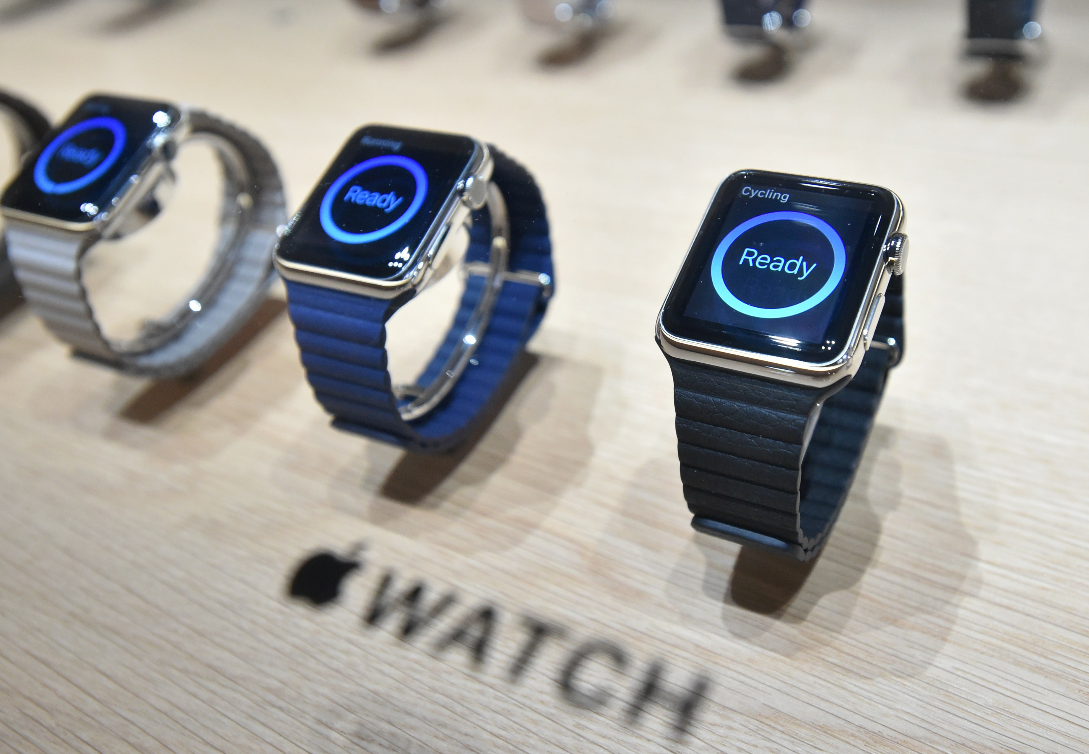 Apple Watches are seen on display during an Apple media event at the Yerba Buena Center for the Arts in San Francisco, California on March 09, 2015.