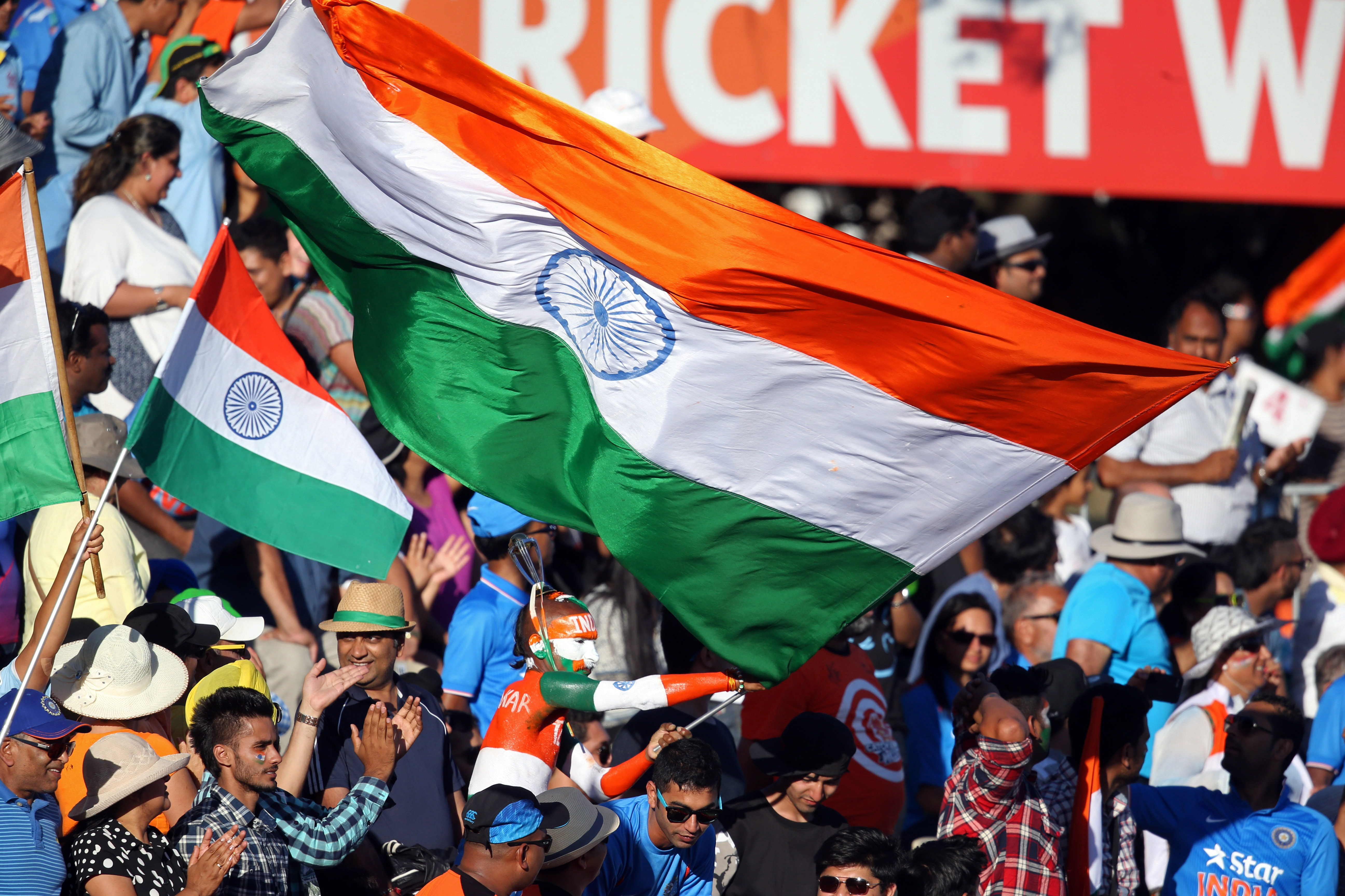 India fans wave their national flags during the Pool B Cricket World Cup match between India and Ireland at Sedden Park in Hamilton on March 10, 2015.