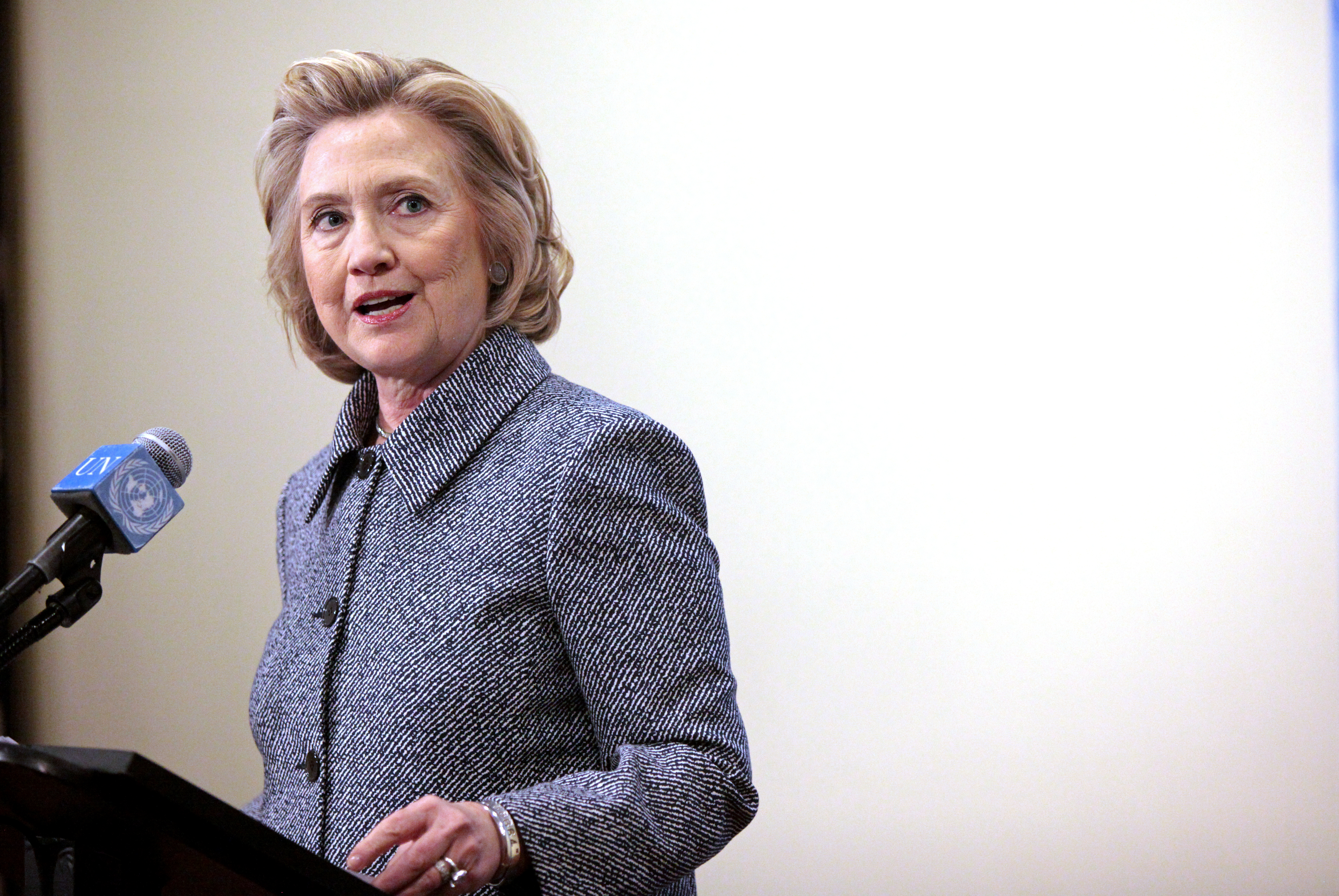 Former United States Secretary of State Hillary Clinton speaks to the media after keynoting a Women's Empowerment Event at the United Nations on March 10, 2015 in New York City.