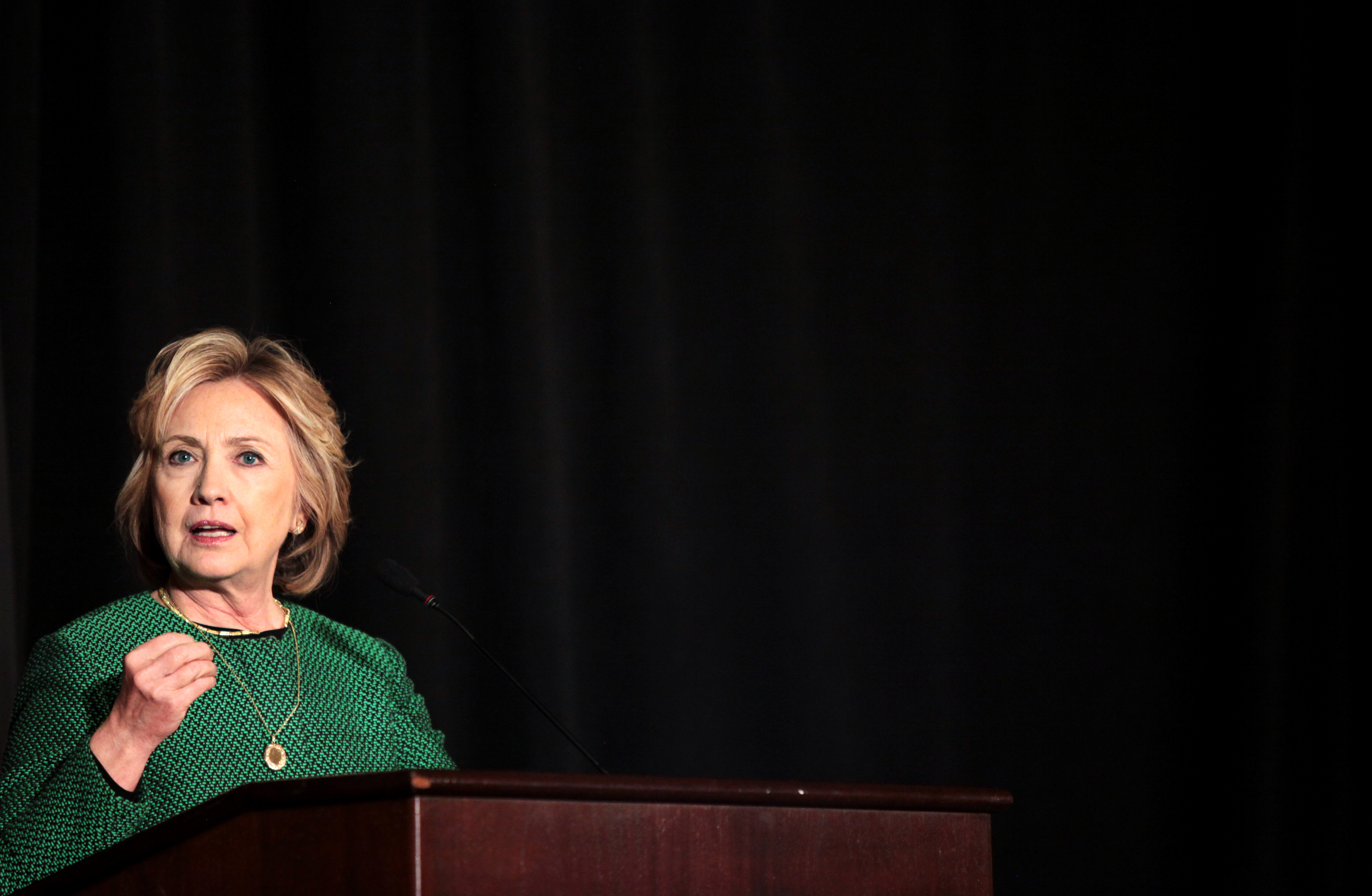 Former Secretary of State Hillary Clinton speaks on stage during a ceremony to induct her into the Irish America Hall of Fame on March 16, 2015 in New York City.